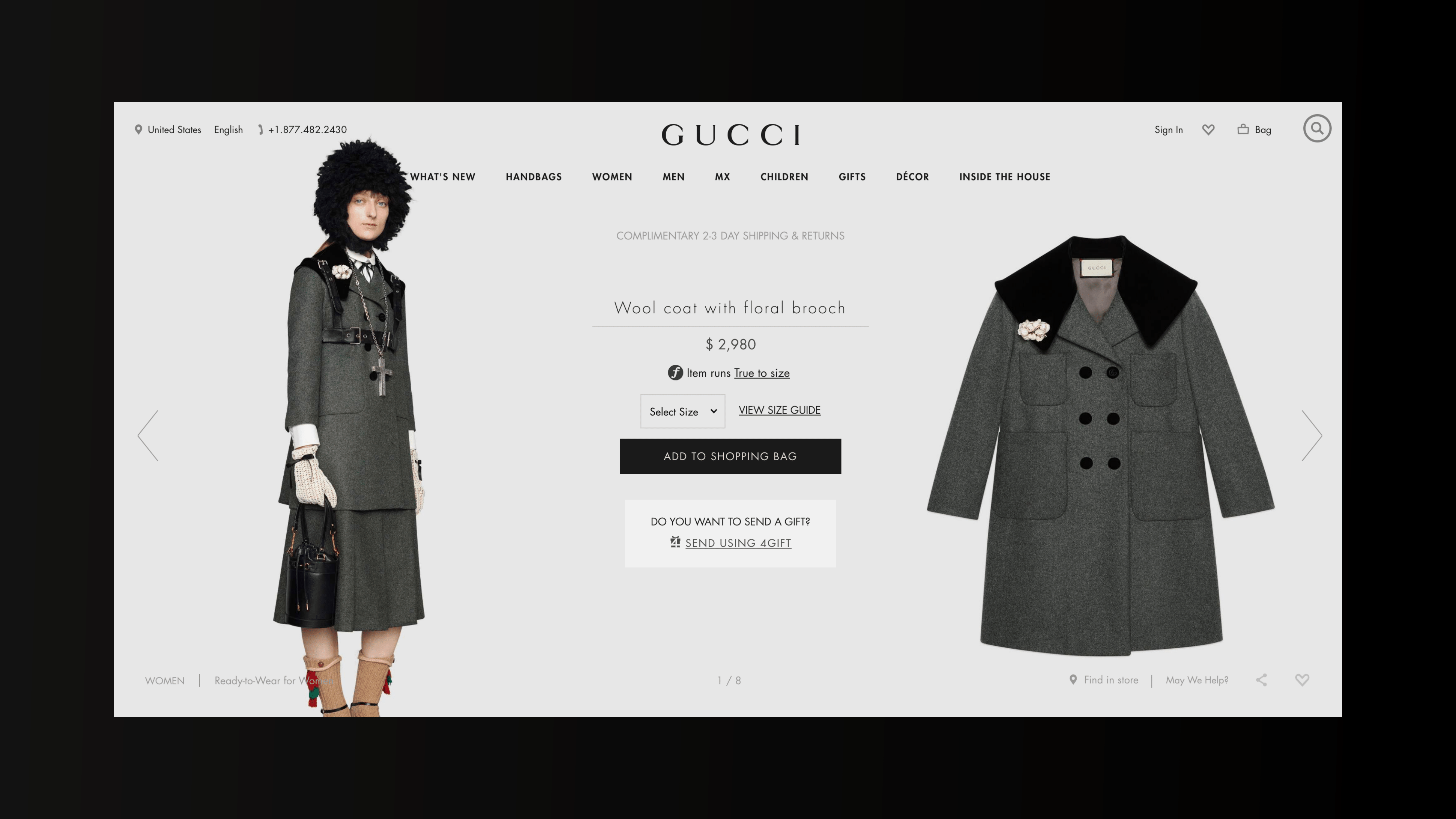 Digital agency on Gucci: Gucci's eCommerce Site: In-depth Product page