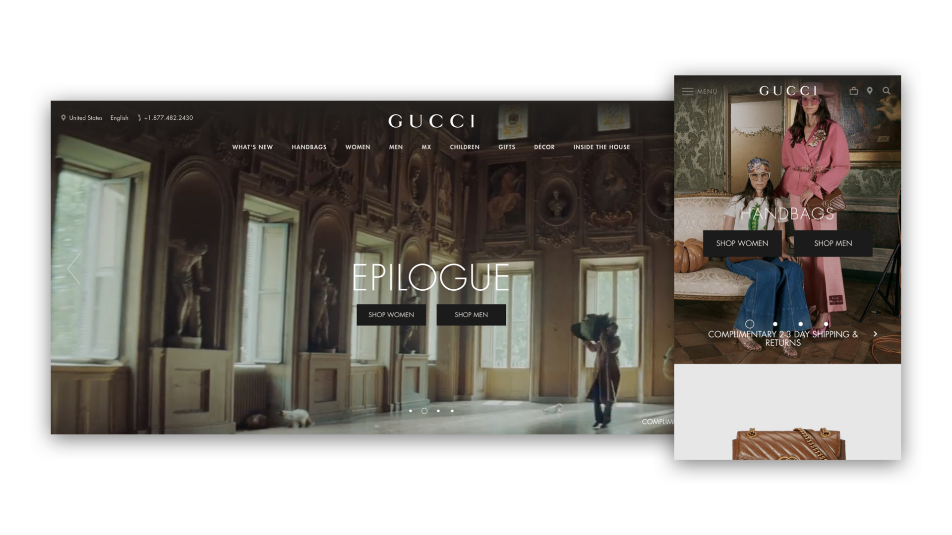 G & Co. is a luxury marketing agency and luxury digital agency: Gucci is one of the most notable luxury names to embrace a digital strategy. Shown: Gucci's eCommerce site on desktop and mobile.