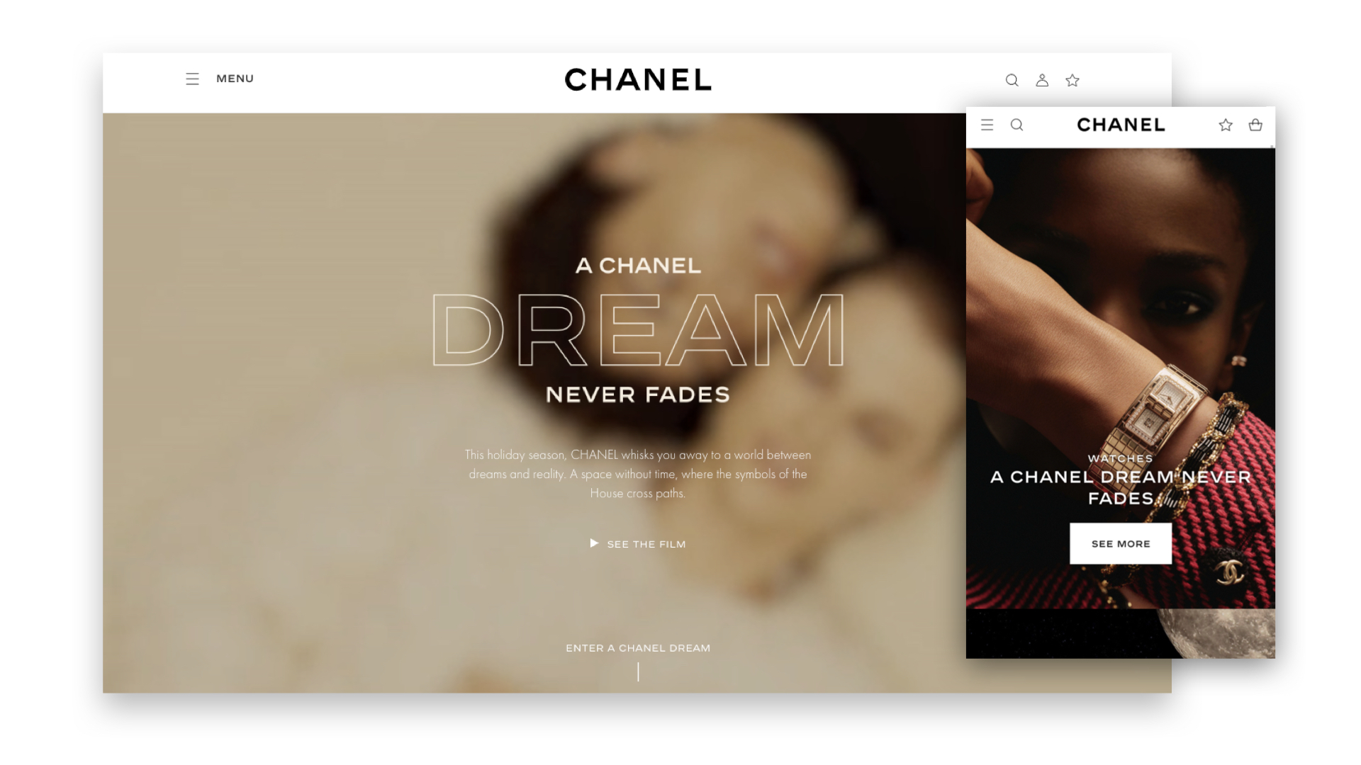 G & Co. is a luxury marketing agency and luxury digital agency: Chanel's eCommerce site, for desktop and mobile