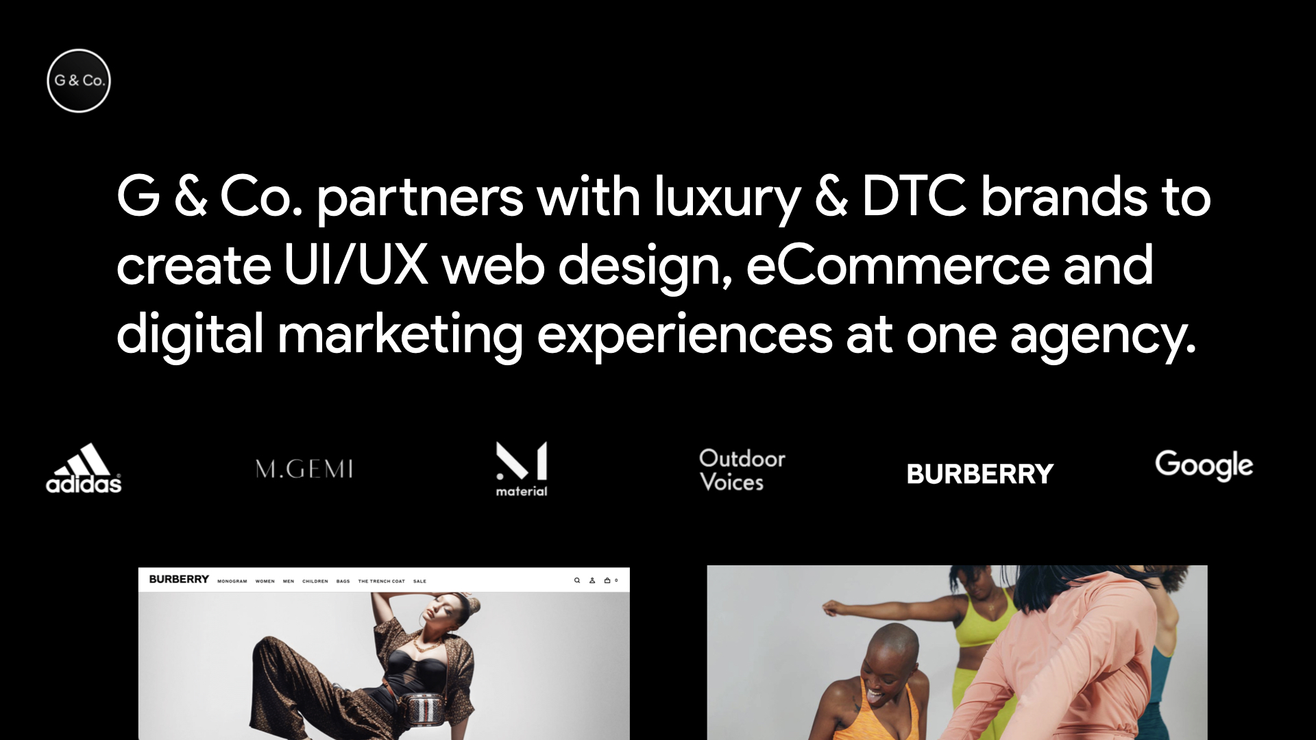 G & Co. UI/UX design and eCommerce agency: Specializing in DTC & luxury brands