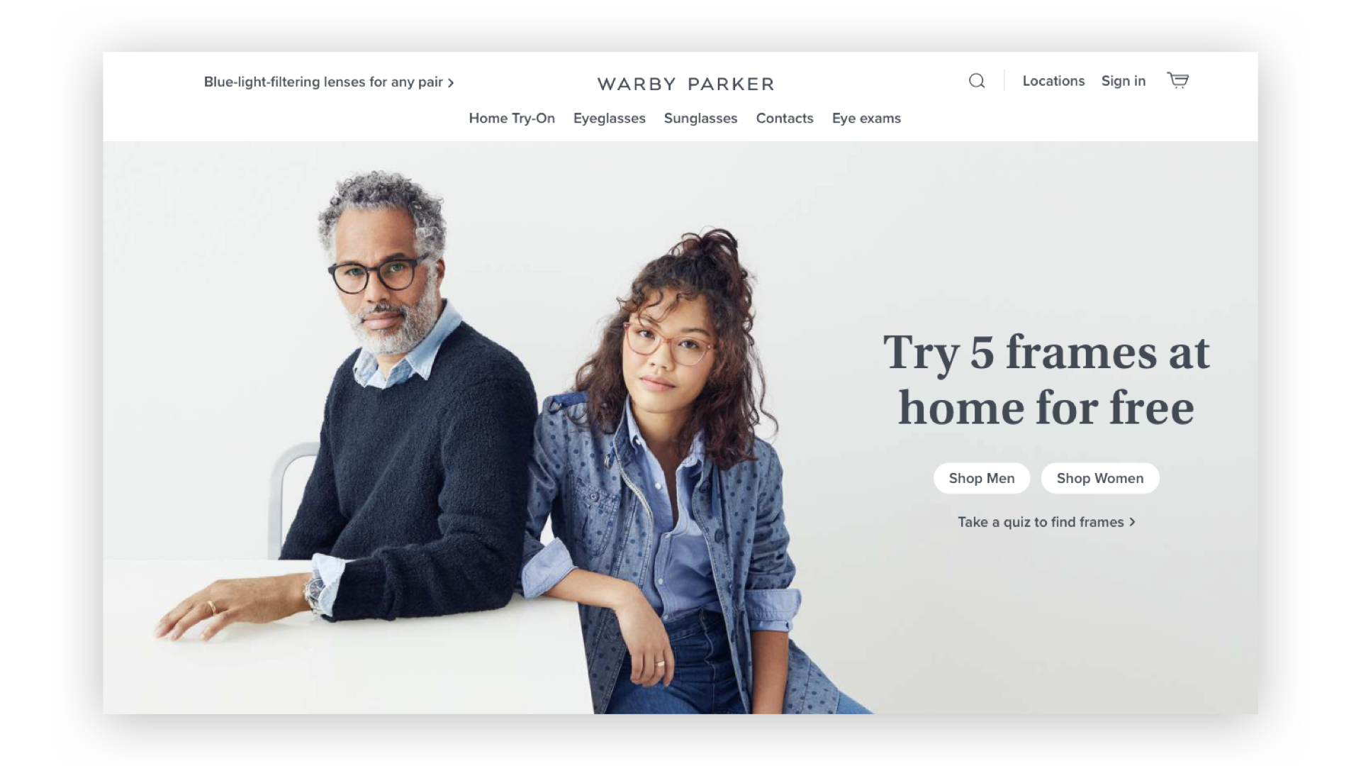 G & Co. is a DTC marketing agency and DTC eCommerce agency: Warby Parker's homepage
