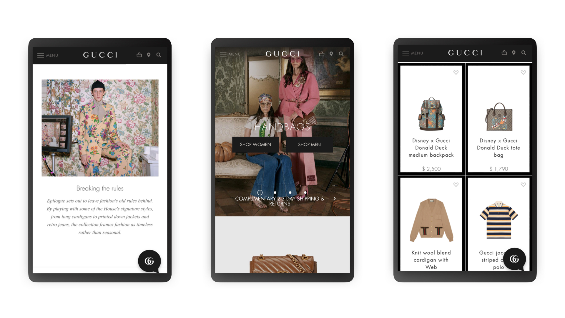 G & Co. is a luxury digital agency: Gucci's eCommerce site, for mobile