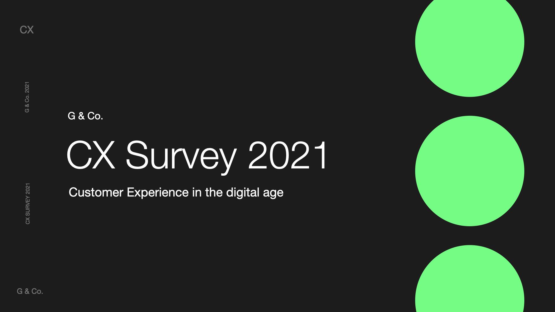 G & Co. Customer Experience CX Survey - CX Agency, Customer Experience Agency