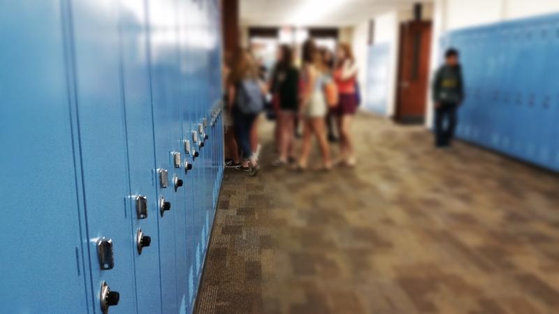 A school corridor.