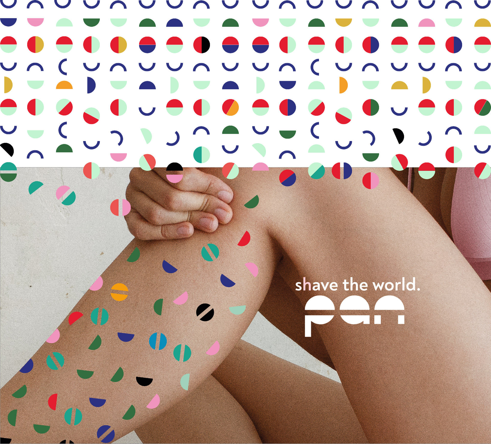 pan shave Corporate Design Bein mit bunten Haaren
