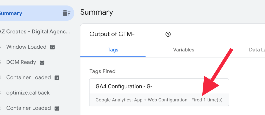View Fired Tested Tag Assistant in GTM | AZ Creates