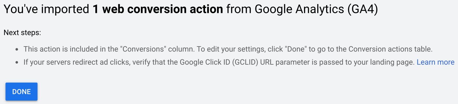 Successful Import of GA4 Conversions Screen in Google Ads | AZ Creates