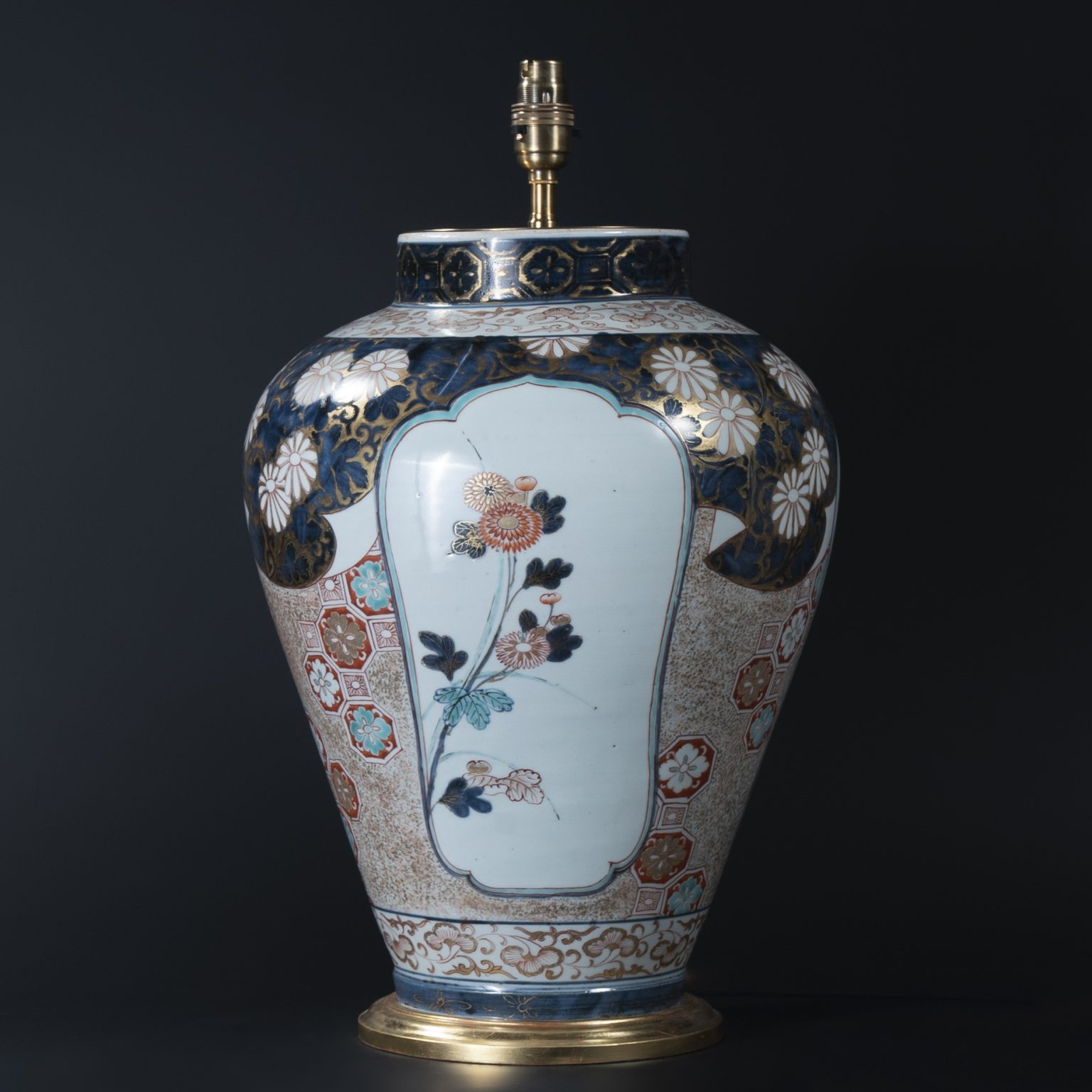 Rare 18th Century Japanese Imari Porcelain Vase as a Lamp