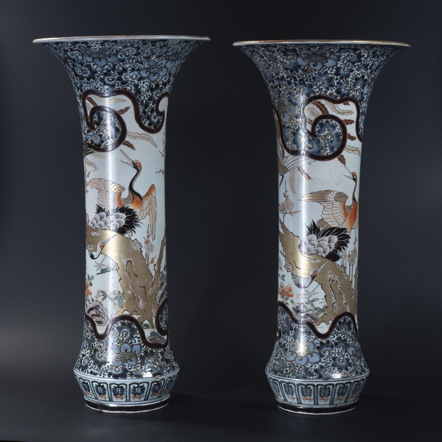Large 18th Century Pair of Tall Japanese Imari Sleeve Vases