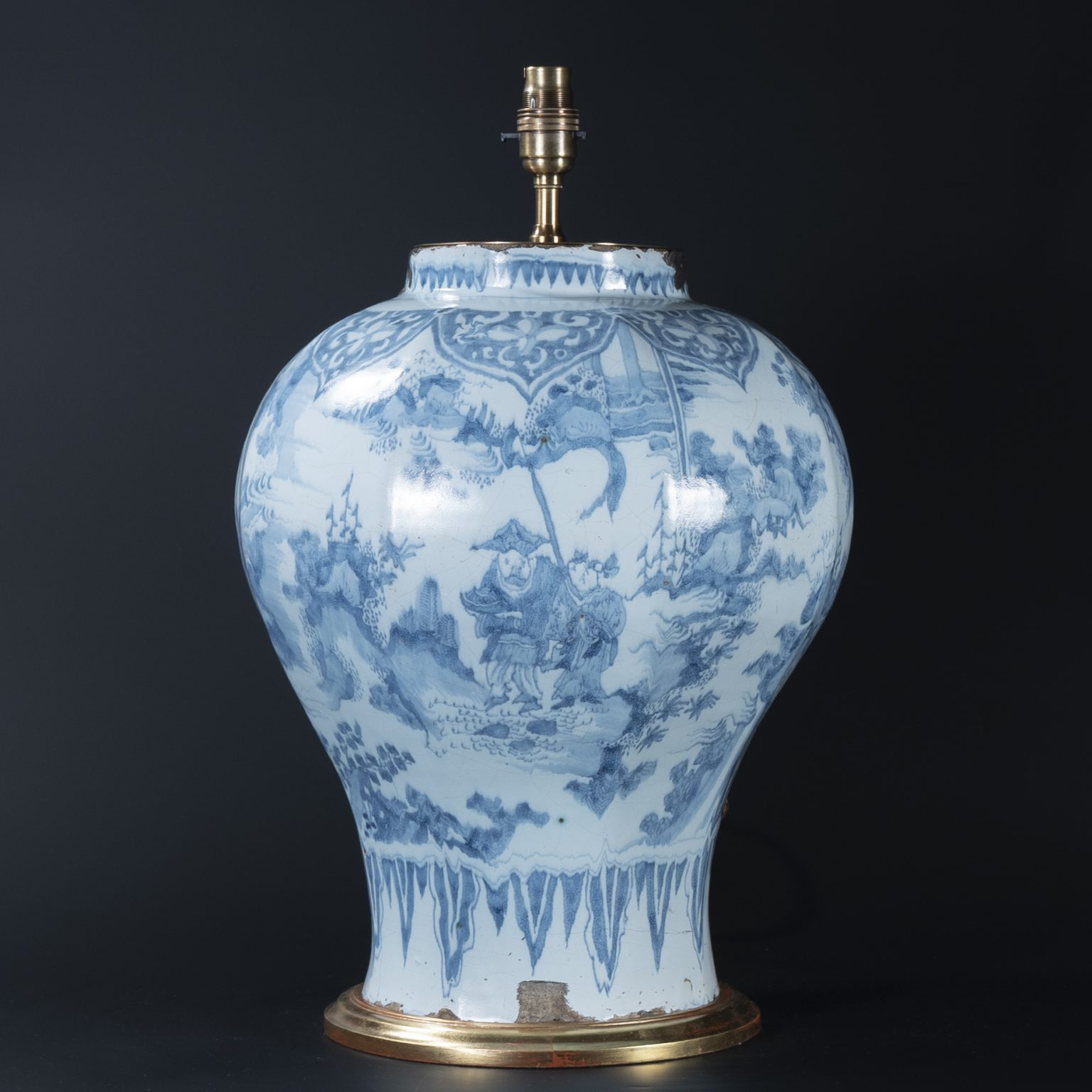 Large 17th Century Dutch Delft Octagonal Vase as a Lamp