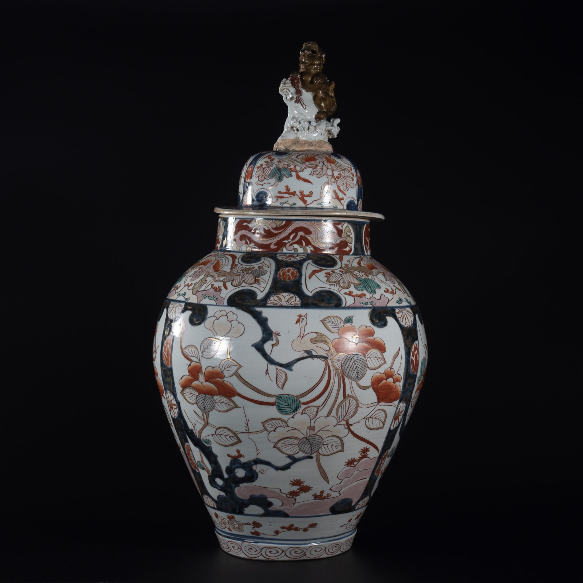 A Palatial Pair of Japanese Porcelain Vases and Cover, circa 1700