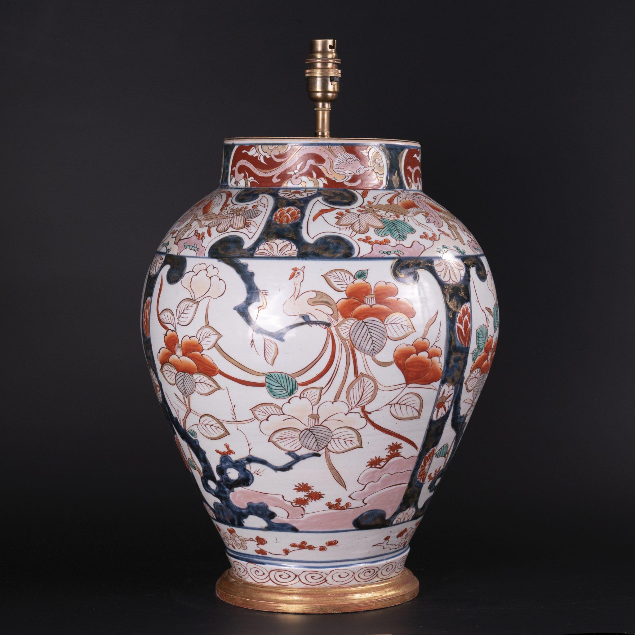 Early 18th Century Japanese Imari Porcelain Vase as a Lamp