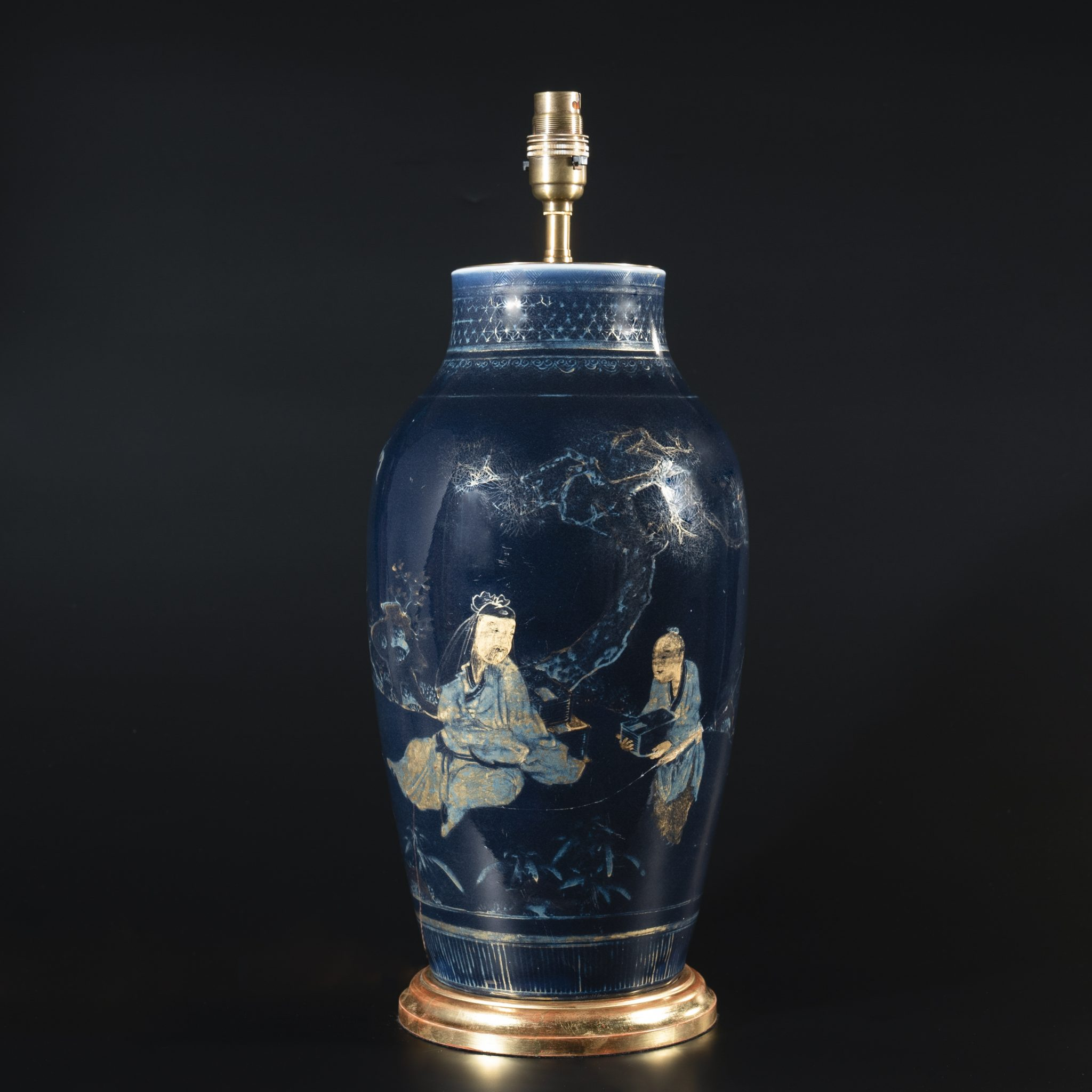 Large 18th Century Chinese Powder Blue Vase as a Lamp