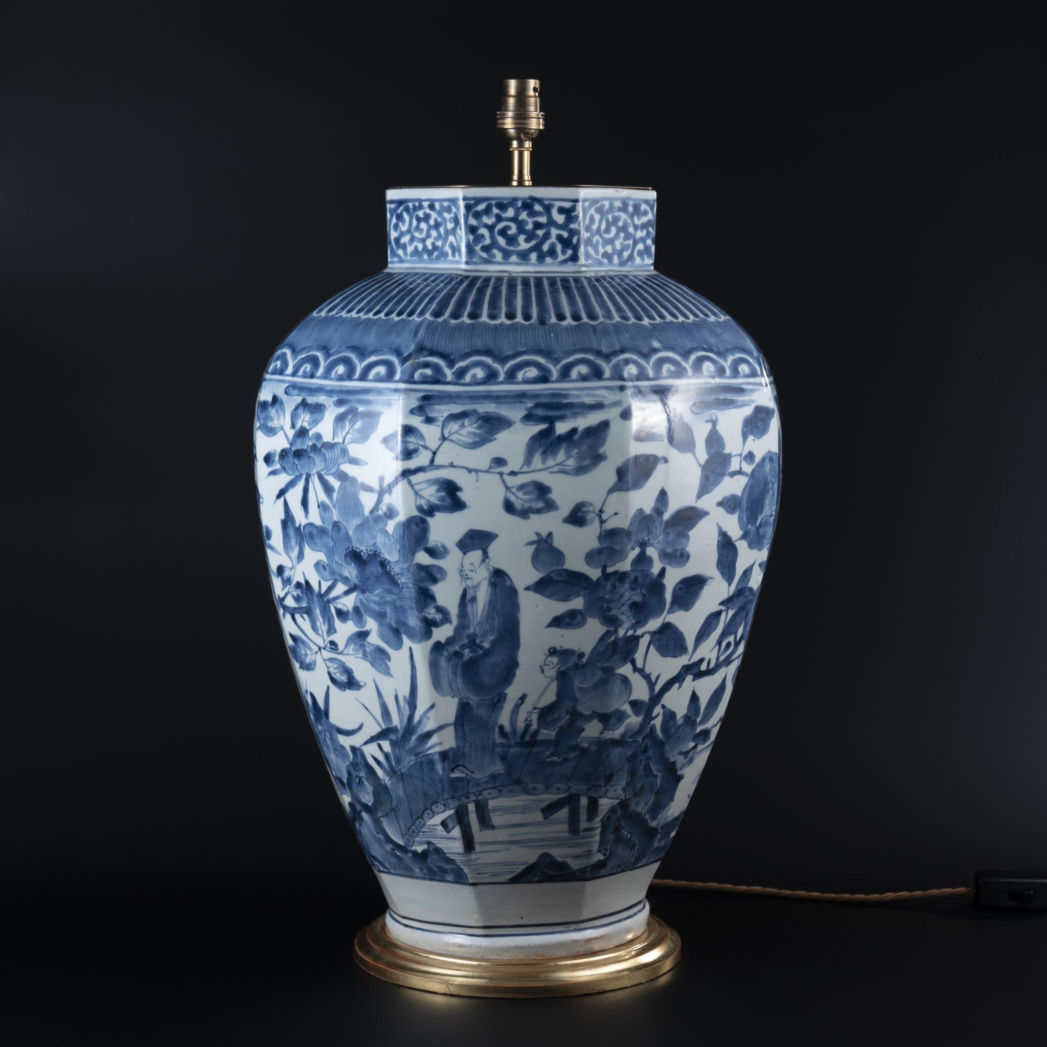 Large Japanese Arita Octagonal Porcelain Vase as a Lamp, circa 1700