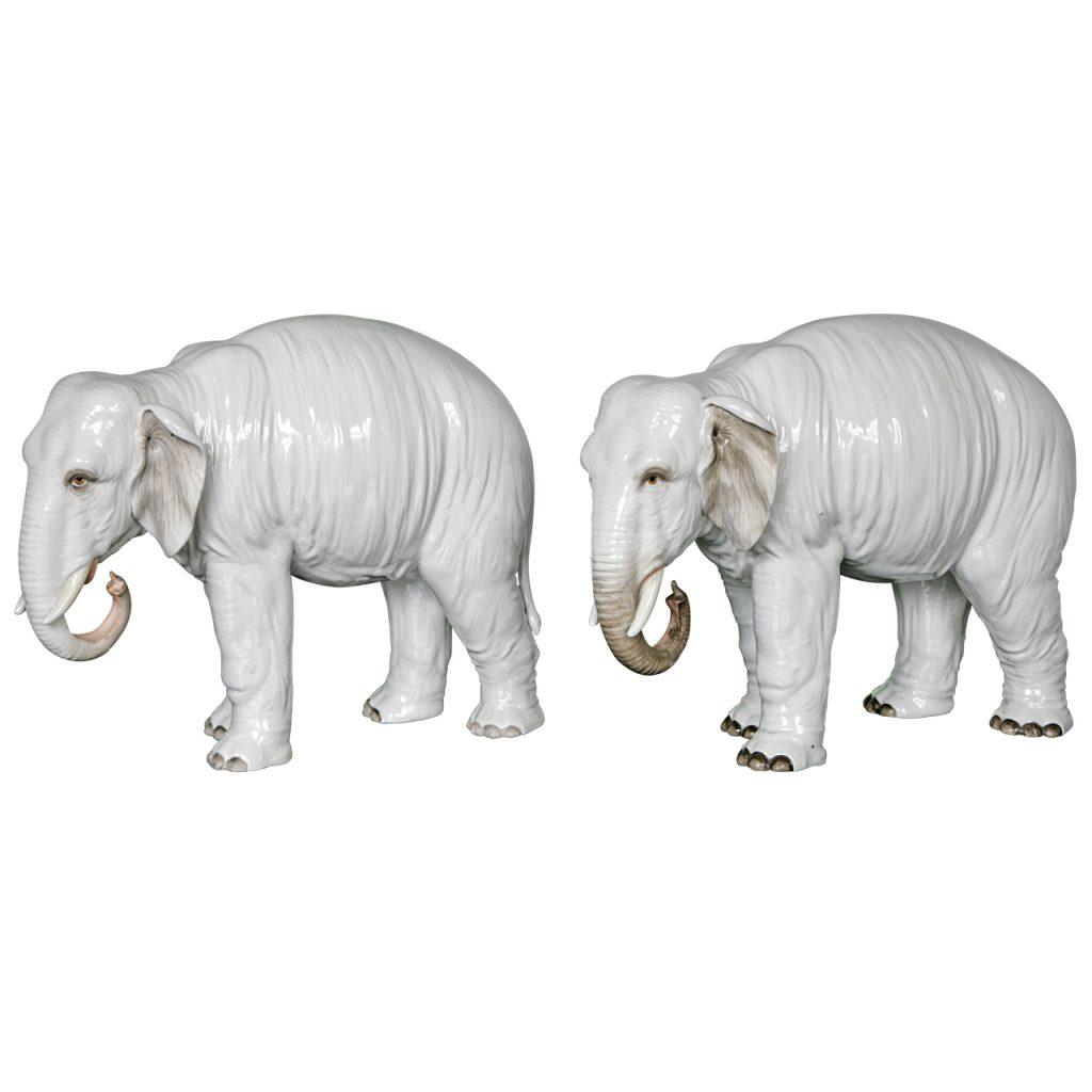 A Large Pair of White Porcelain Elephants, Samson, Circa 1900