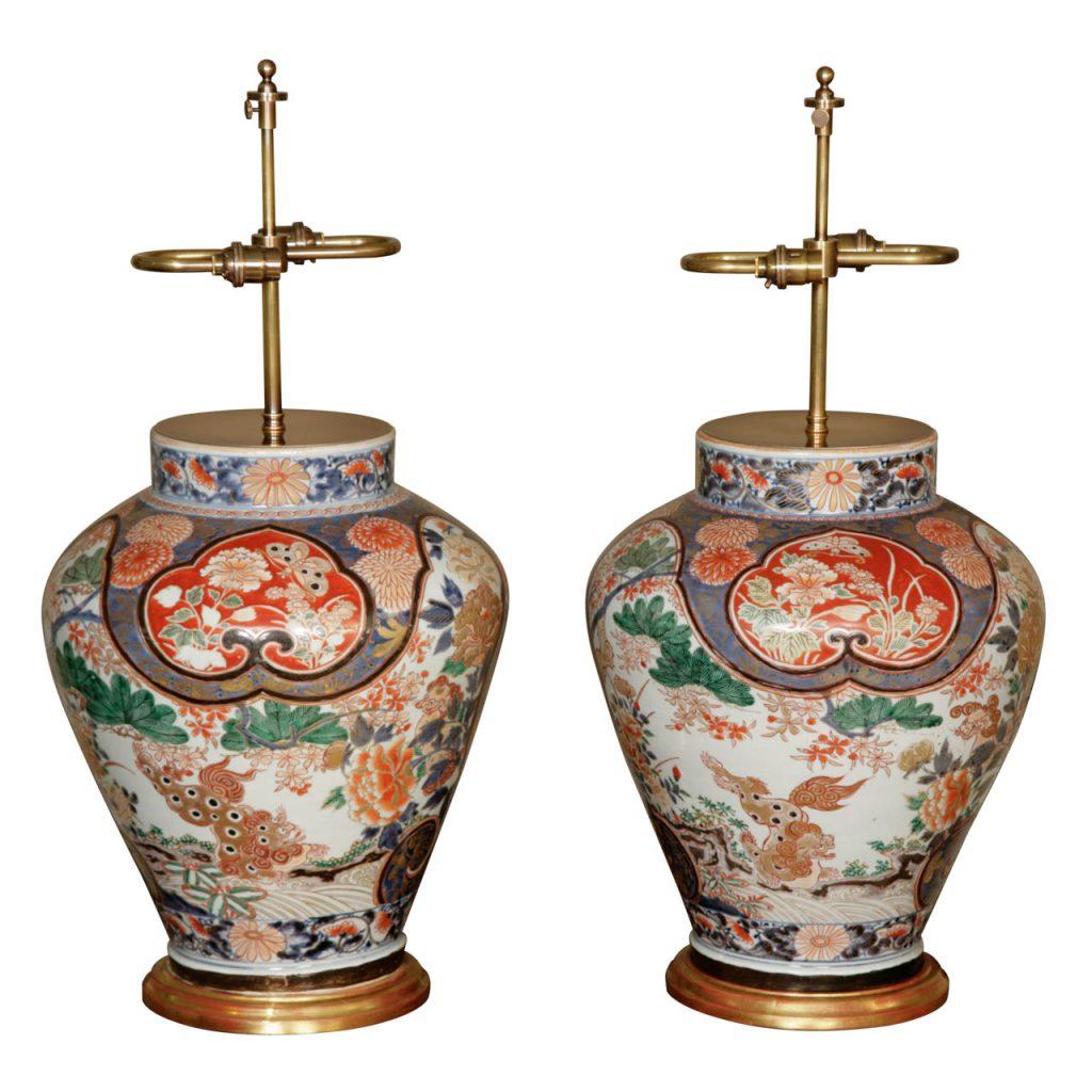 17th Century Pair of Imari Balauster Vases on Giltwood Bases