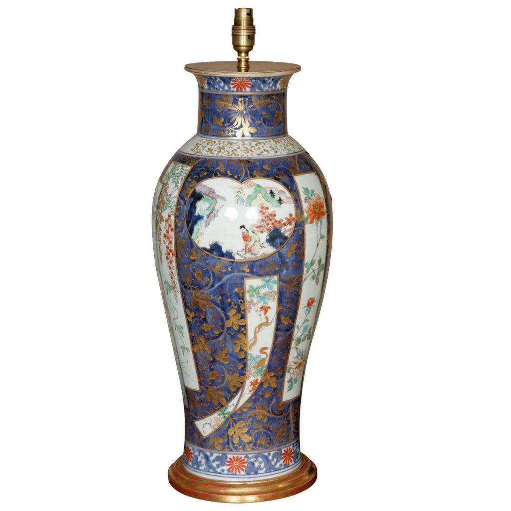 A Large Lamped Japanese Early 18th Century Imari Elongated Vase