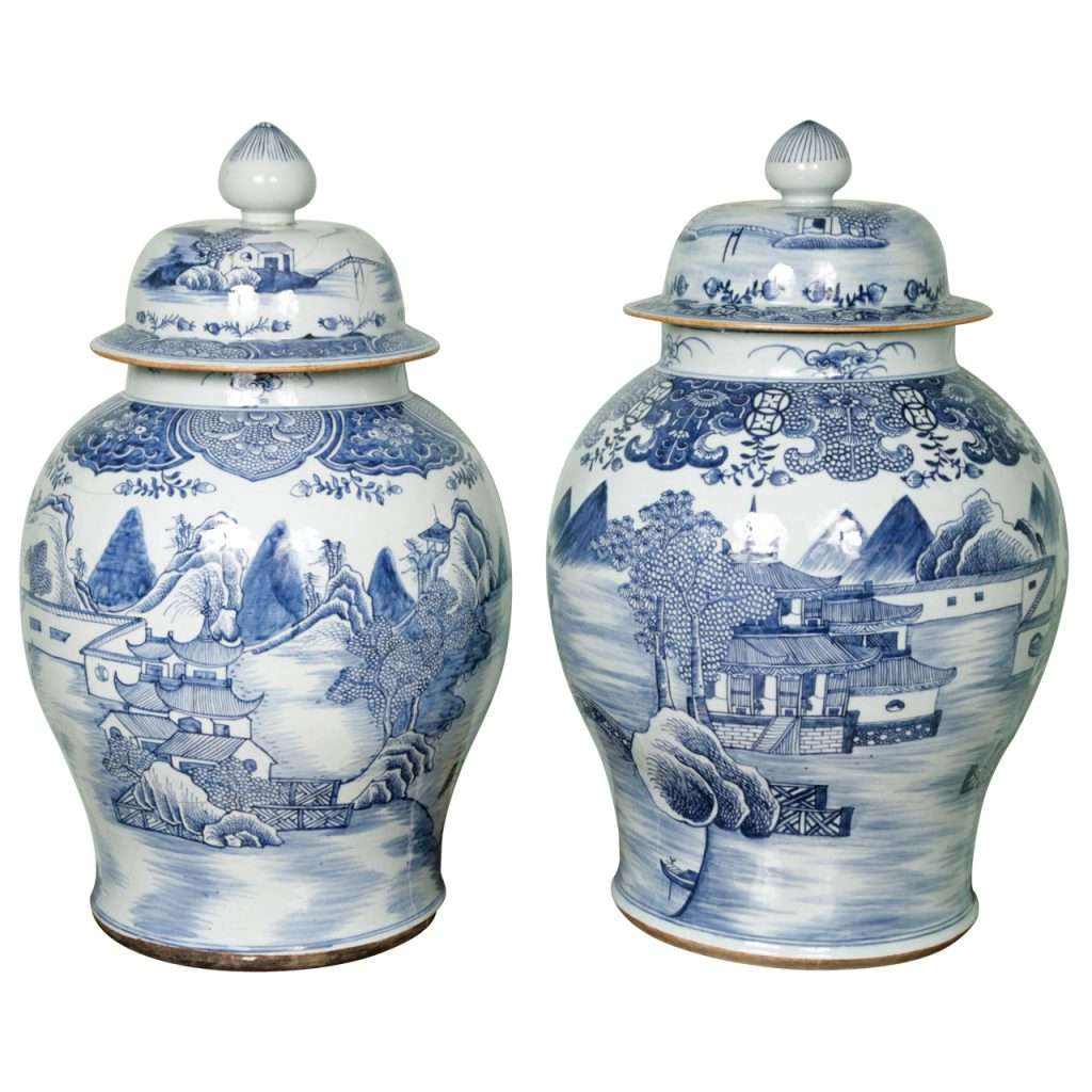 Two Huge 18th Century Chinese Blue and White Vases