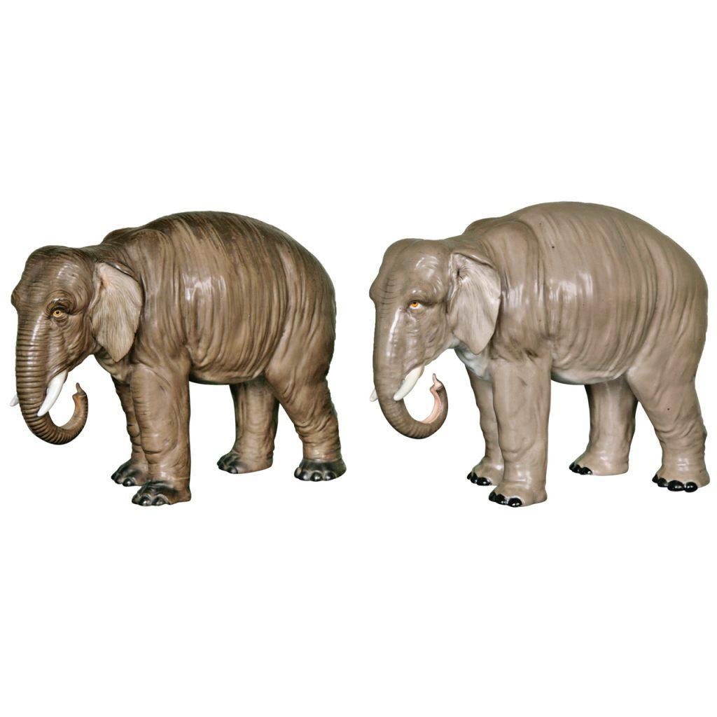 A Large Pair of Grey Porcelain Elephants