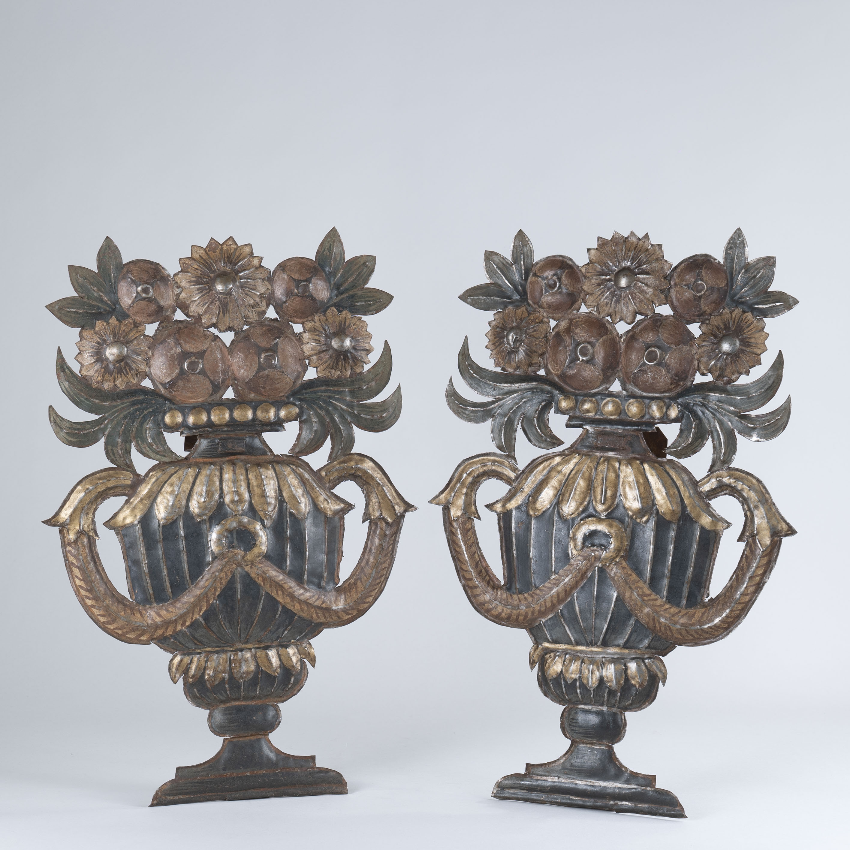 Pair of 18th Century French Tole Painted Wall Flower Vases