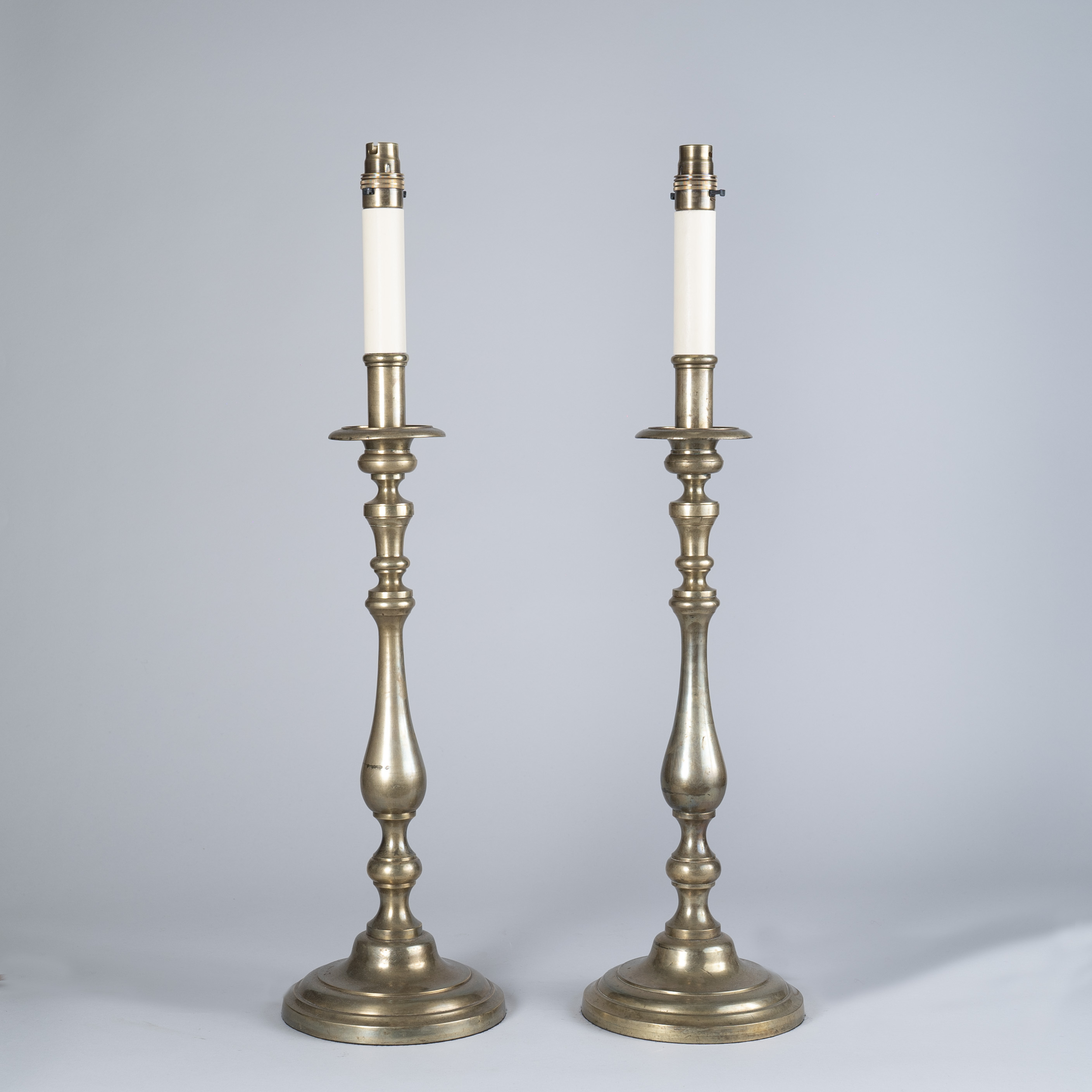 Tall pair of 19th Century Brass Candlesticks as lamps
