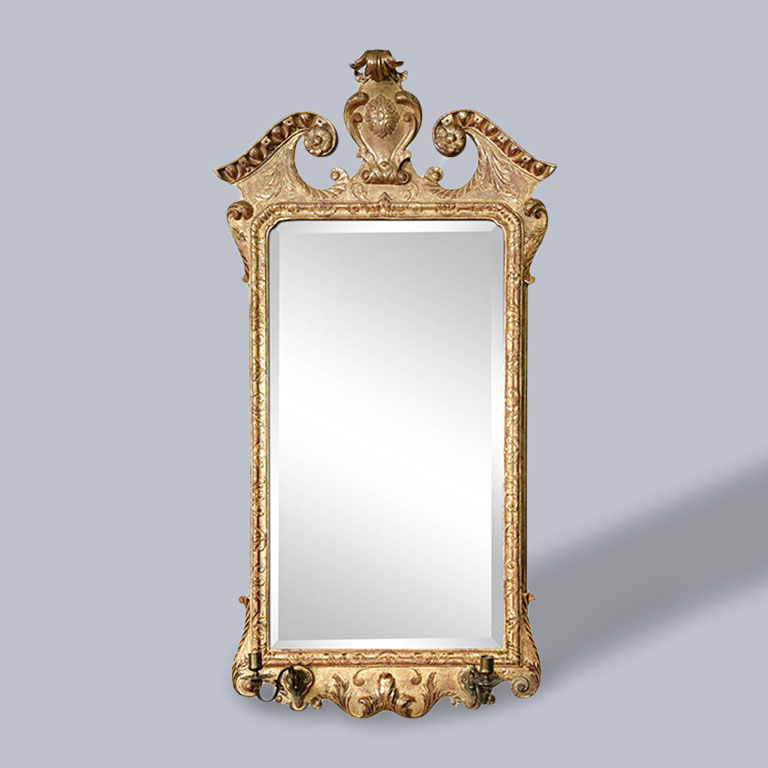 A George II Giltwood Mirror with Candle Sconces ca. 1730