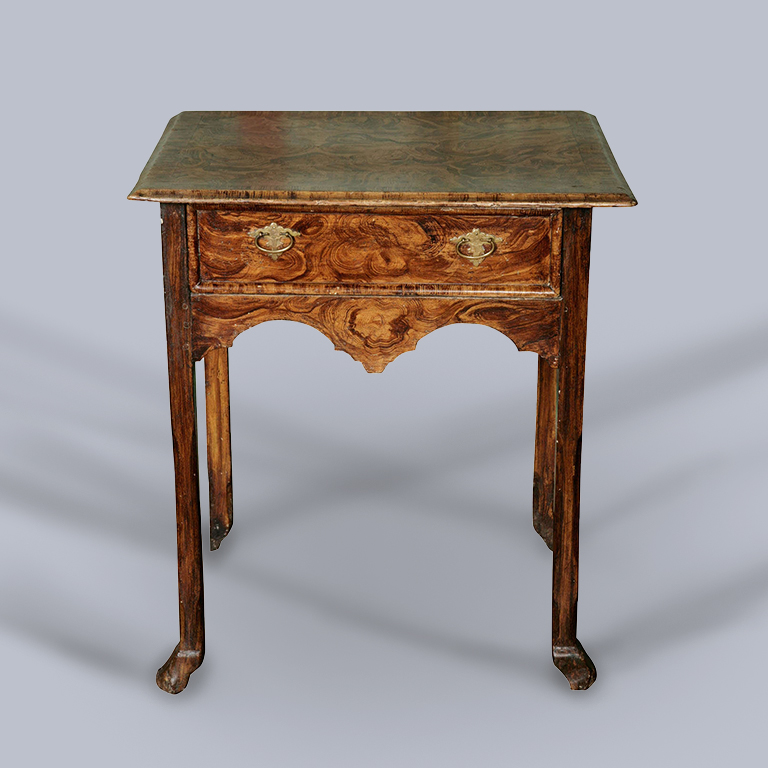 An Early 18th Century Painted Simulated Burr Side/Hall Table (Possibly American Colonial)