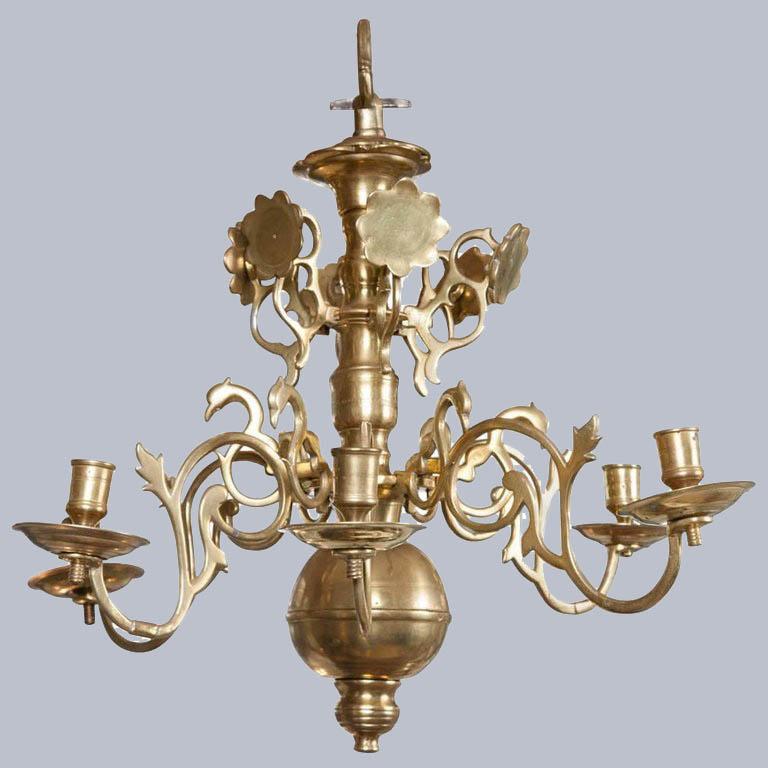 17th Century Period Dutch Brass Chandelier