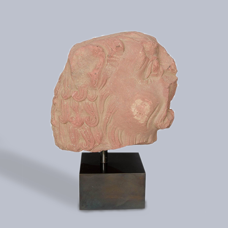 A 2nd Century Indian Sandstone Carving of a Lion Head