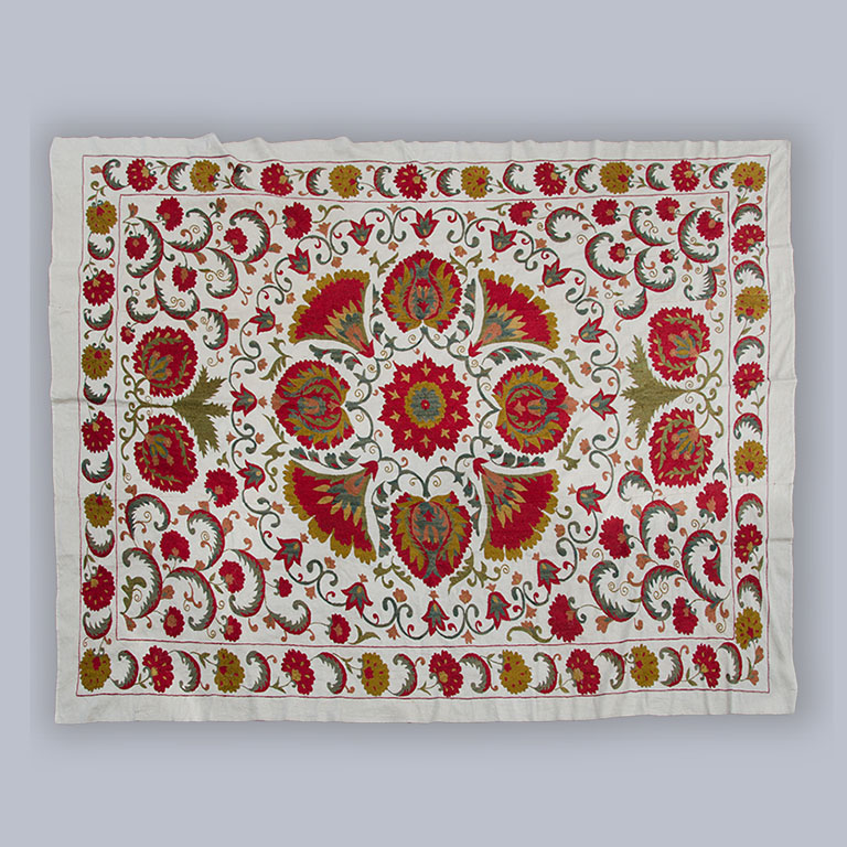 A large and finely embroidered Suzani, circa 1950