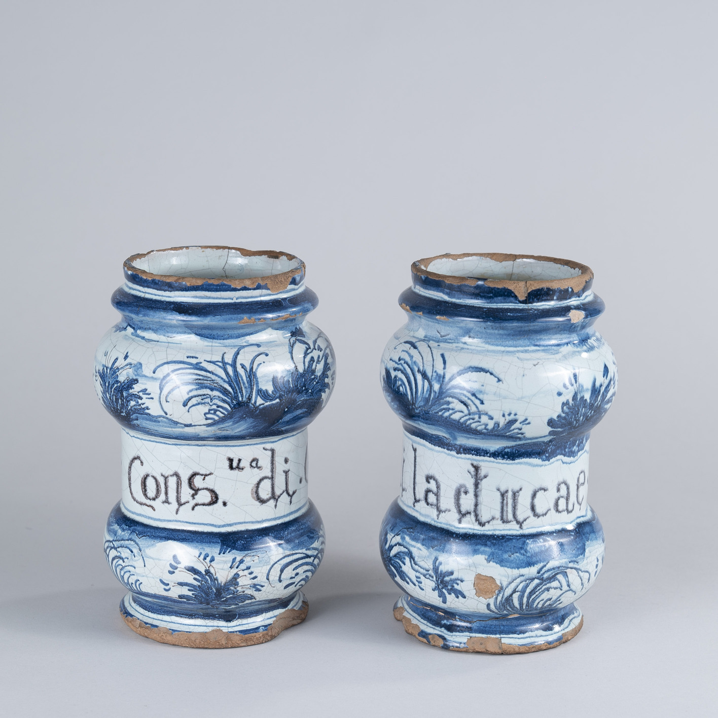 Pair of 17th Century Savona Apothecary jars