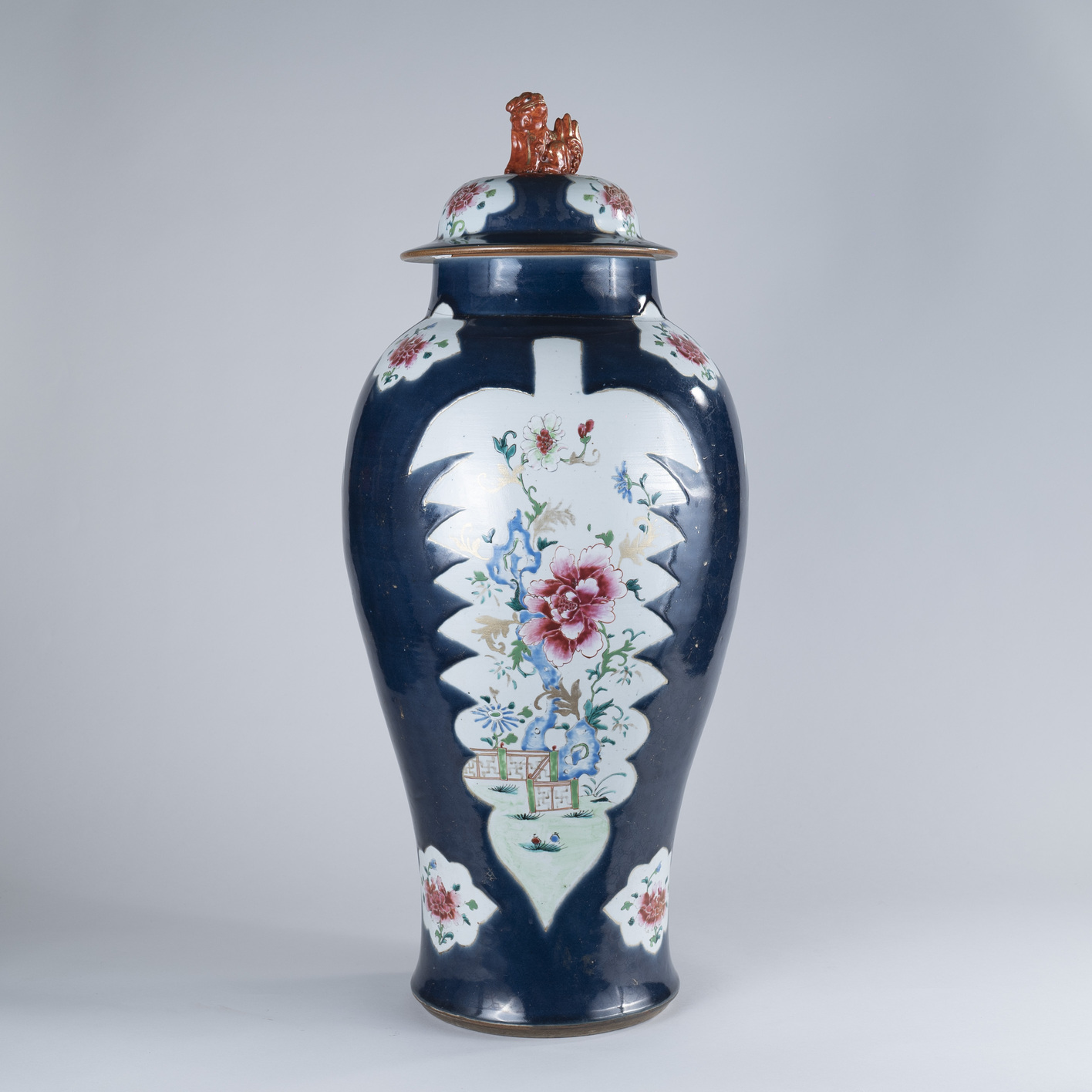 Large 18th Century Chinese Famille Rose Powder-Blue-Ground Baluster Vase