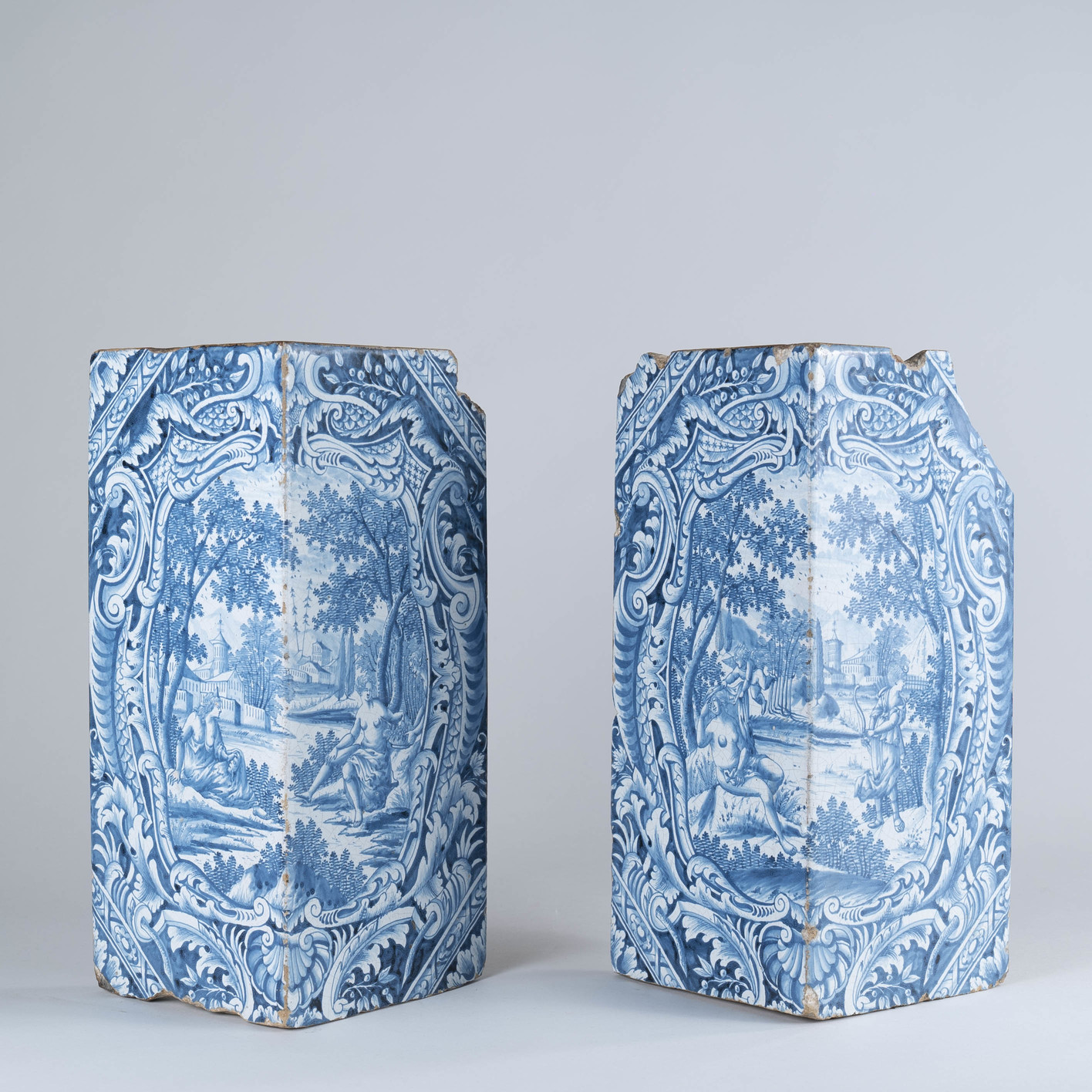 Rare Pair of Dutch Delft Stove Tiles, circa 1730