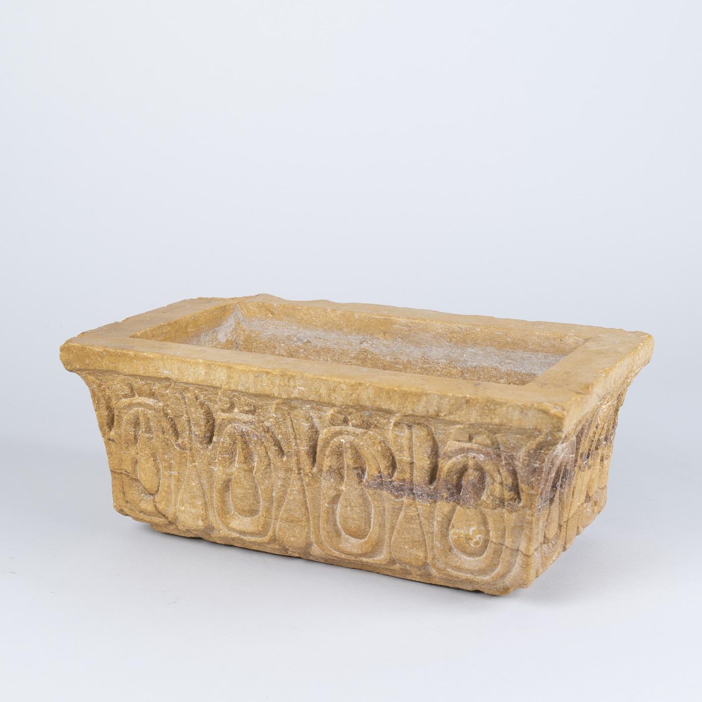 Mid 19th Century Indian Carved Sandstone Jardiniere