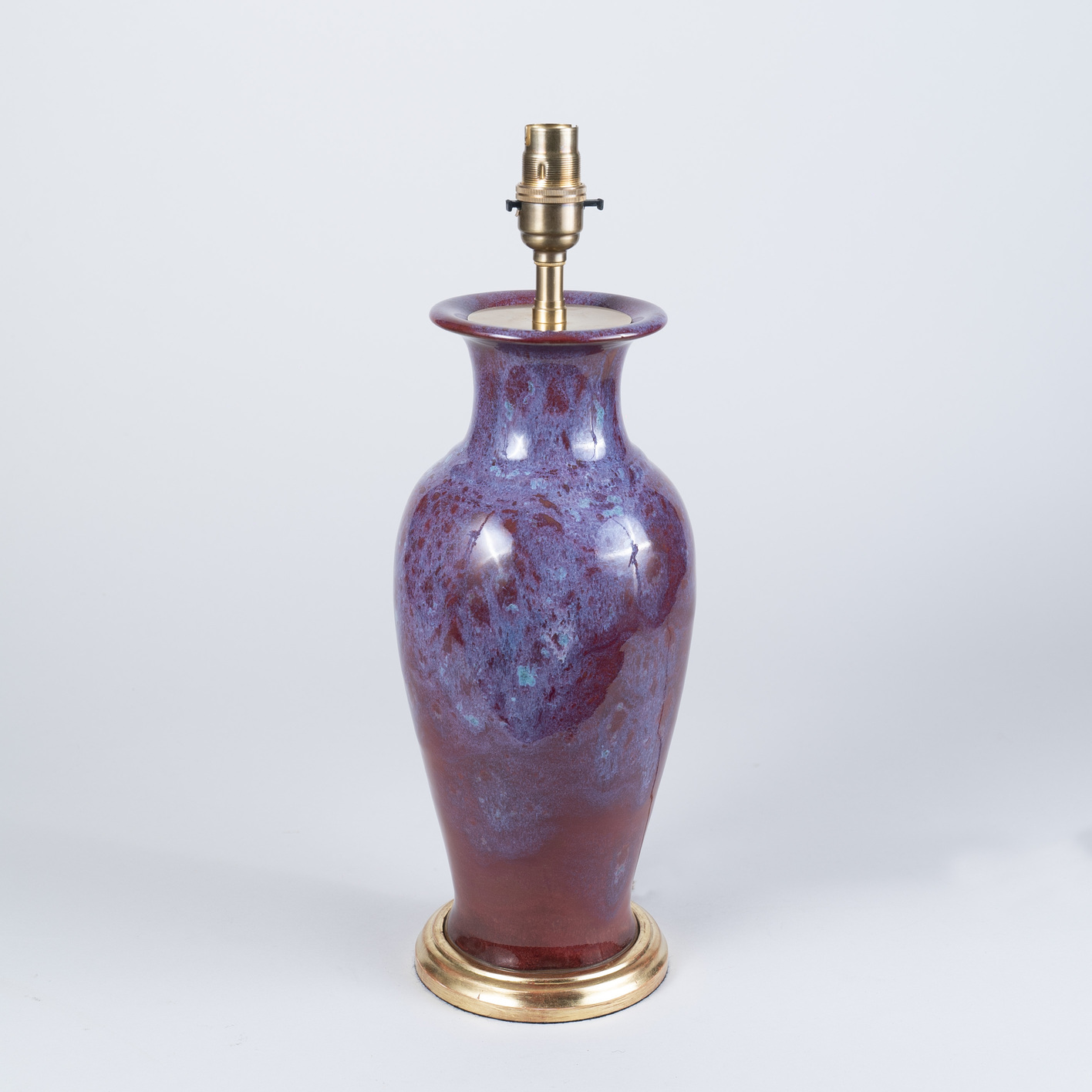 19th Century Chinese Flambé Glazed Porcelain Vase as a Lamp