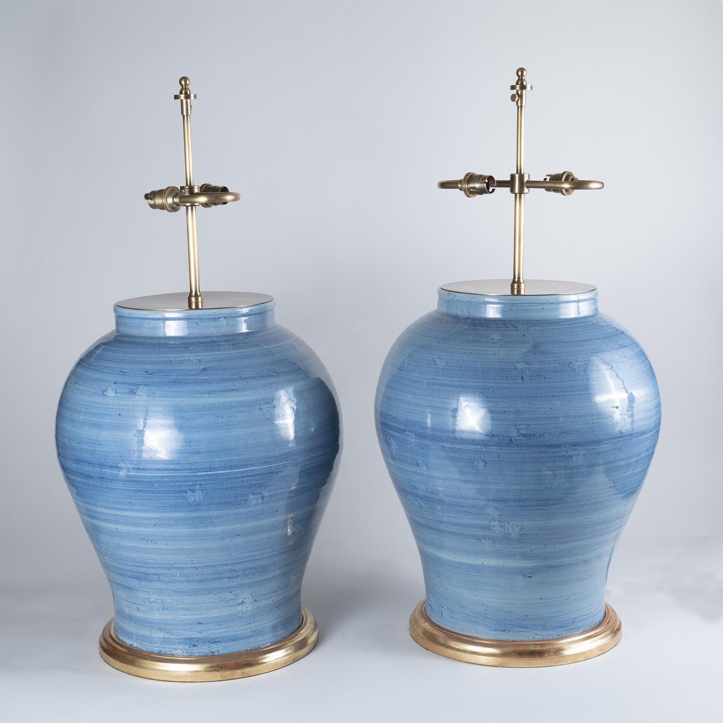 Large Pair of 20th Century Korean Blue Glazed Vases