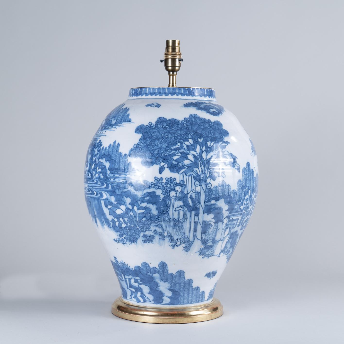 Large 17th Century Dutch Delft Vase as a Lamp