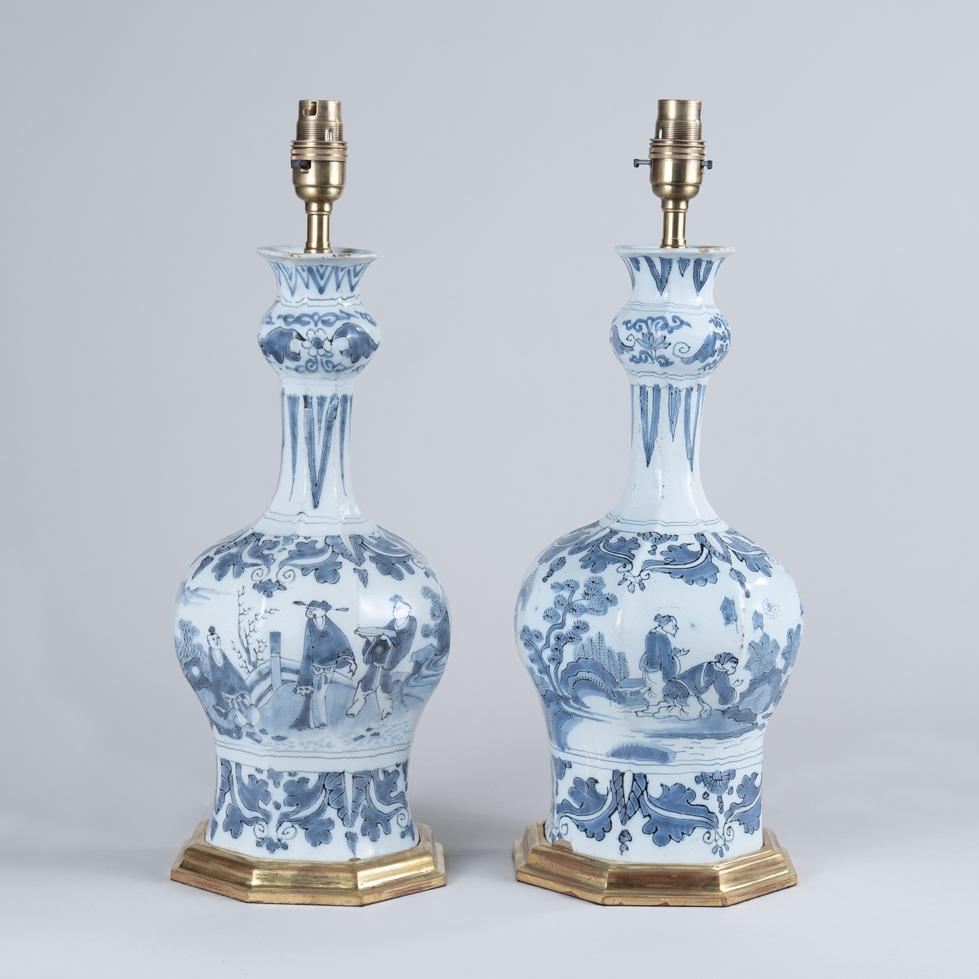 A Pair of 18th Century Dutch Delft Vases as Lamps