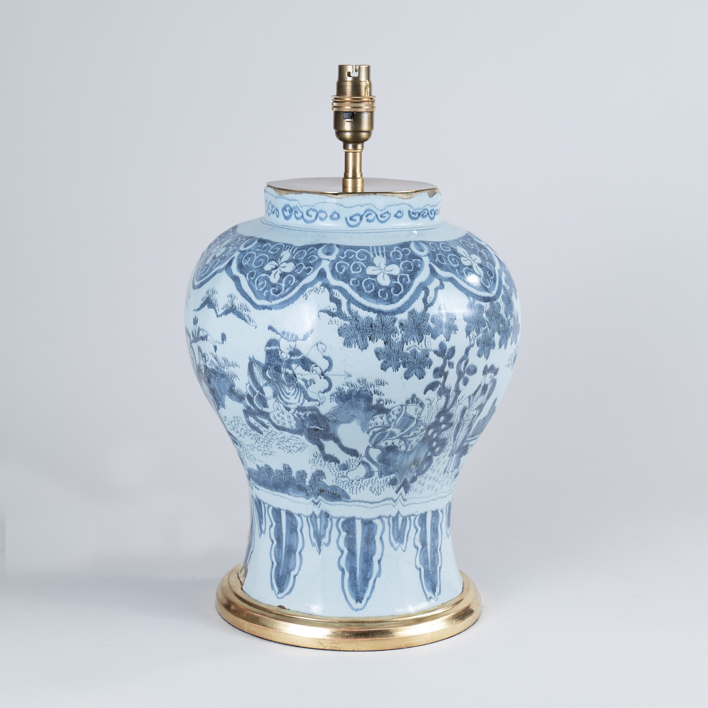 Early 18th century Dutch Delft Blue and White Octagonal Vase, Lamped