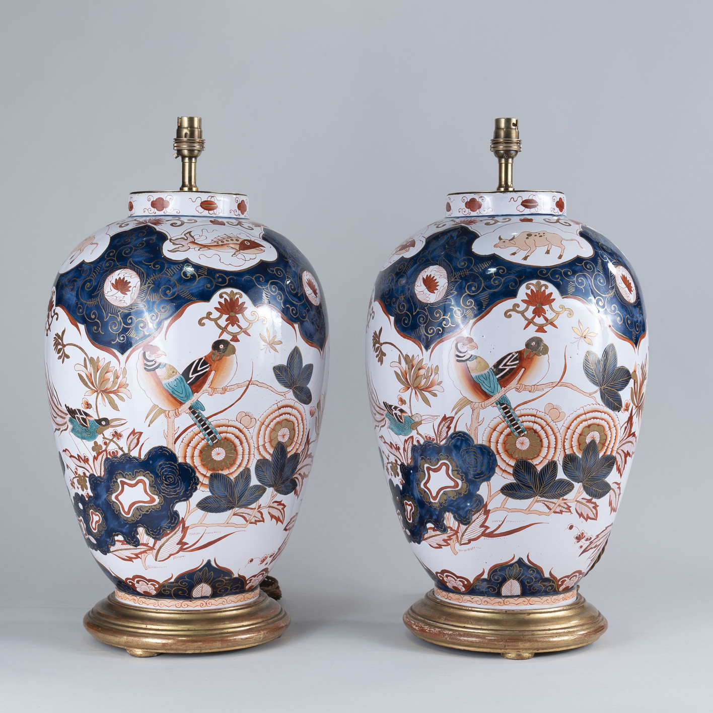 A Large Pair of Early 19th Century Dutch Delft Vases, Lamped