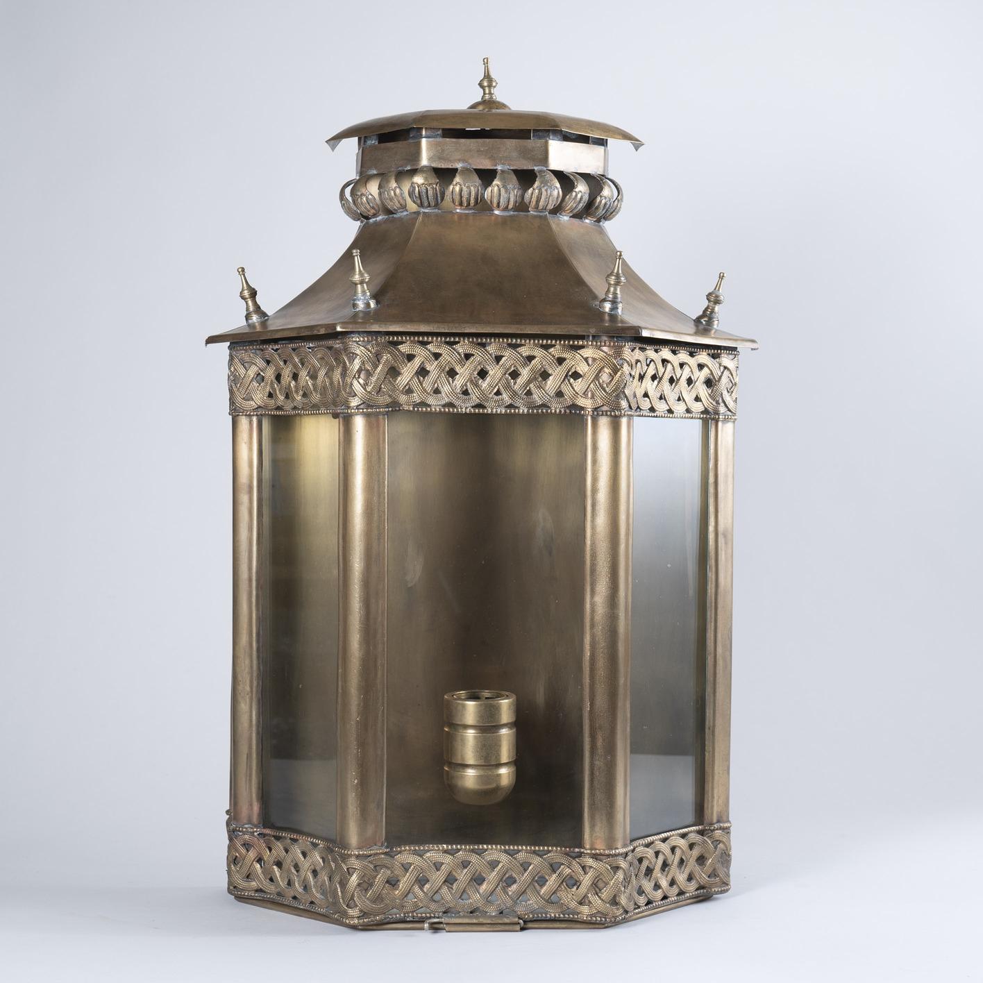 Large Moroccan Brass Wall Lantern, Circa 1940