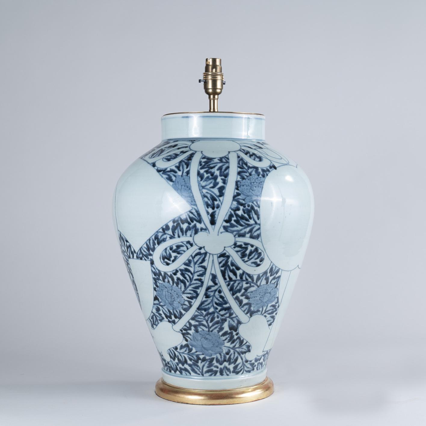 Late 17th Century Japanese Arita Porcelain Vase as a Lamp