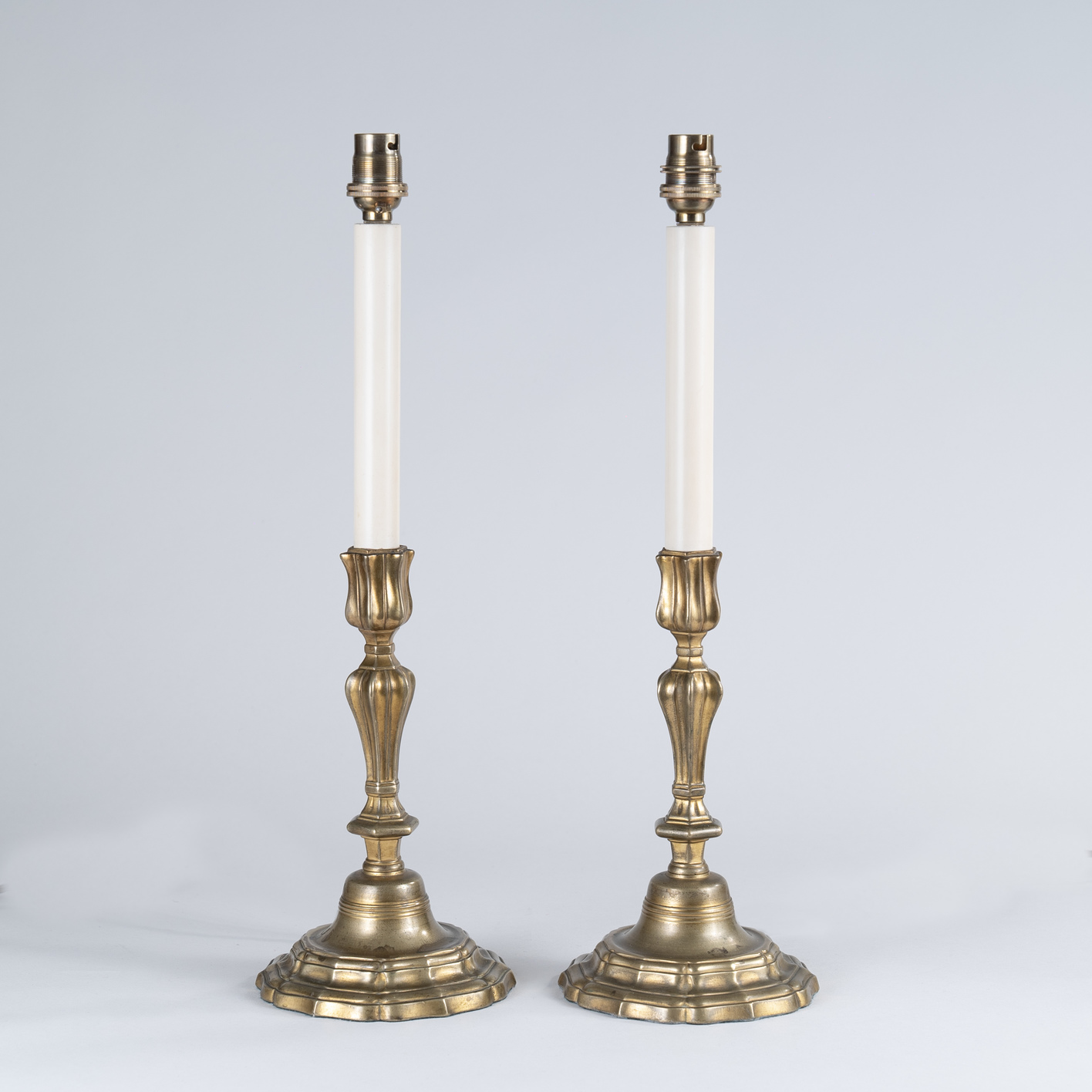 Pair of mid 18th Century French Ormolu Candlesticks lamped
