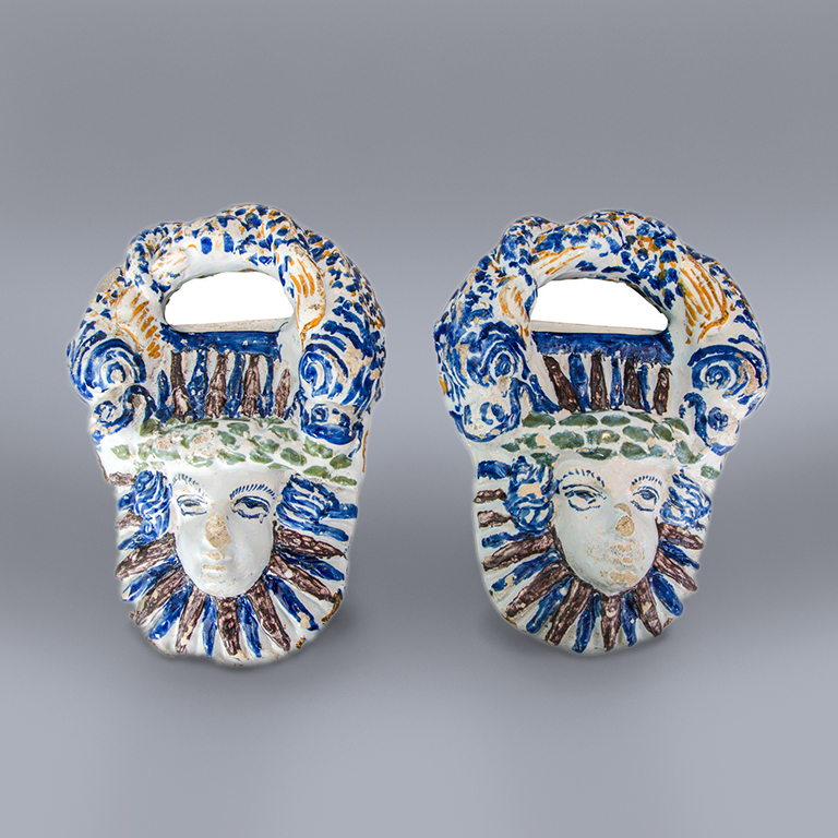 A Pair 17th Century French Faience Pot Handles, Nevers, circa 1650