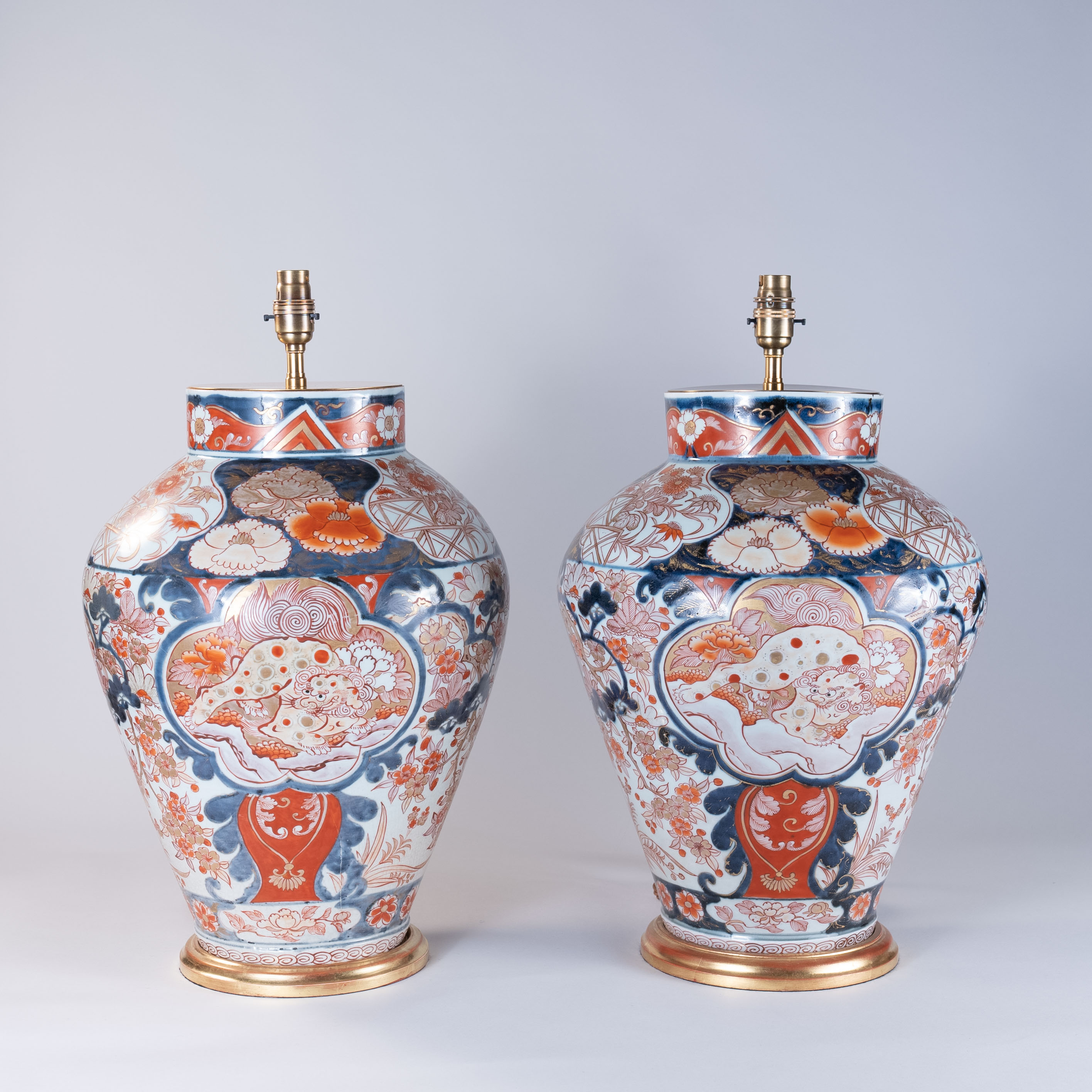 Pair of Early 18th Century Japanese Imari Vases as Lamps