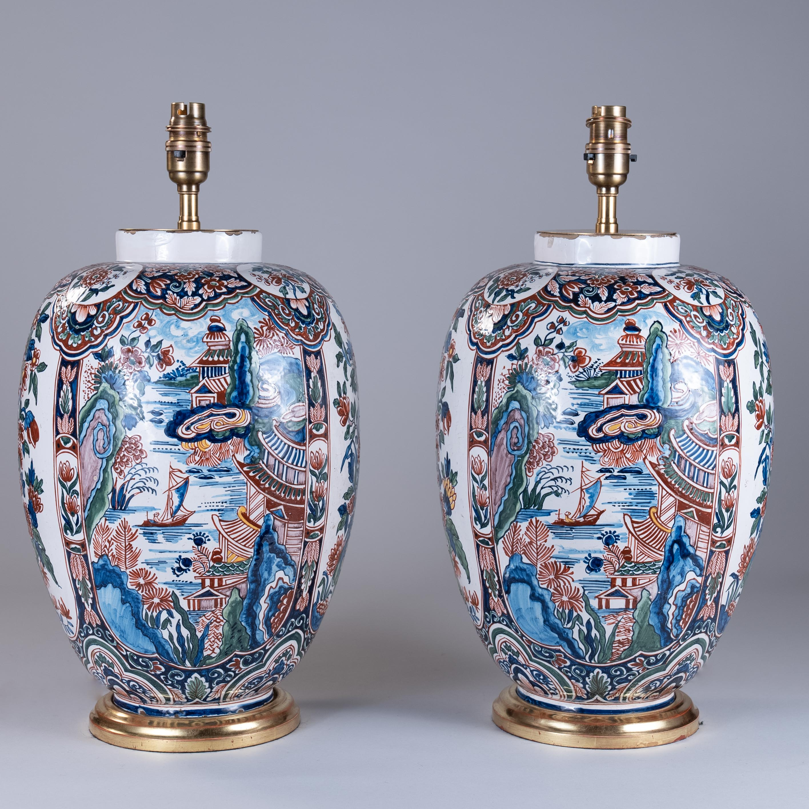 Pair of Early 19th Century Dutch Delft Vases as Lamps