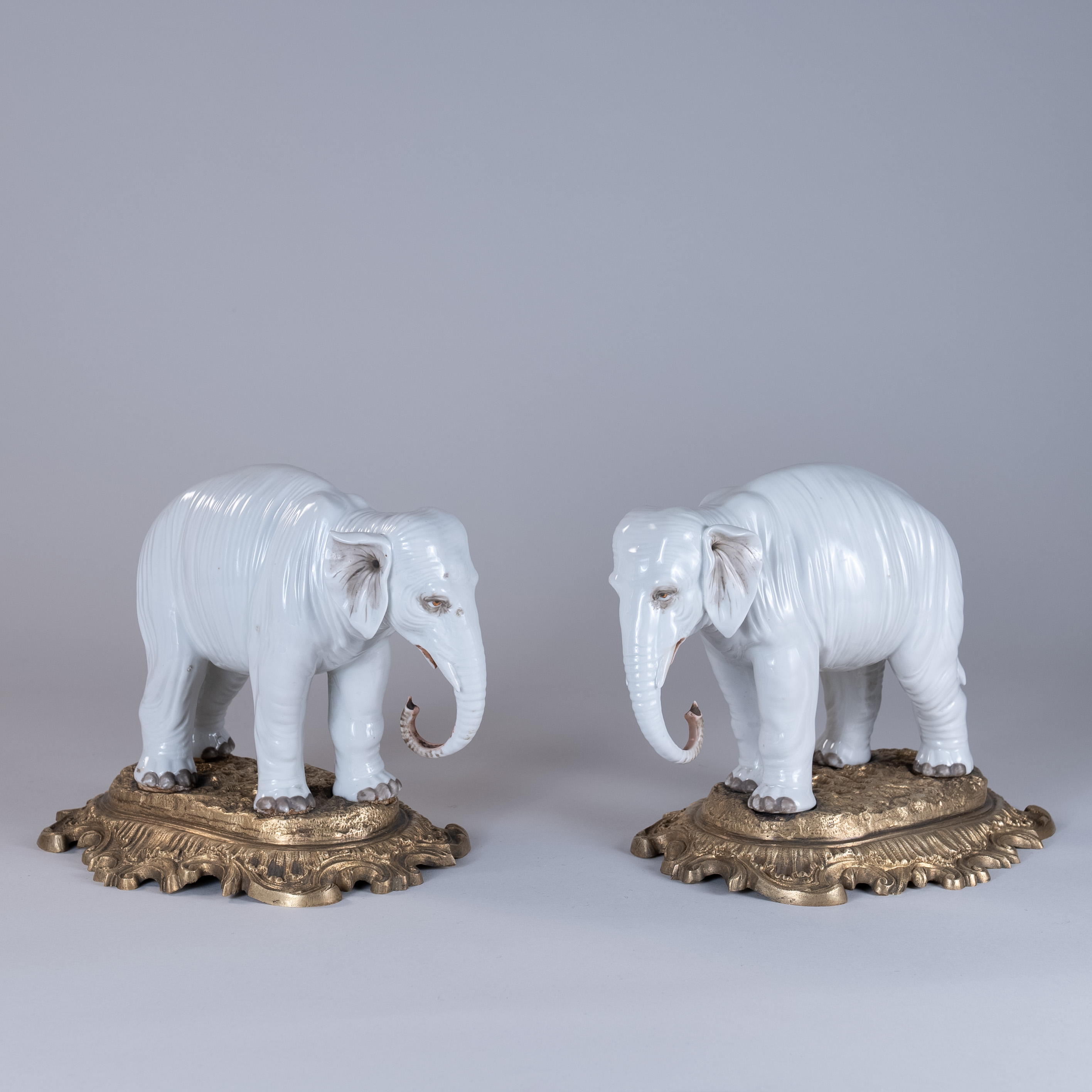 Late 19th Century Pair of White Porcelain Elephants
