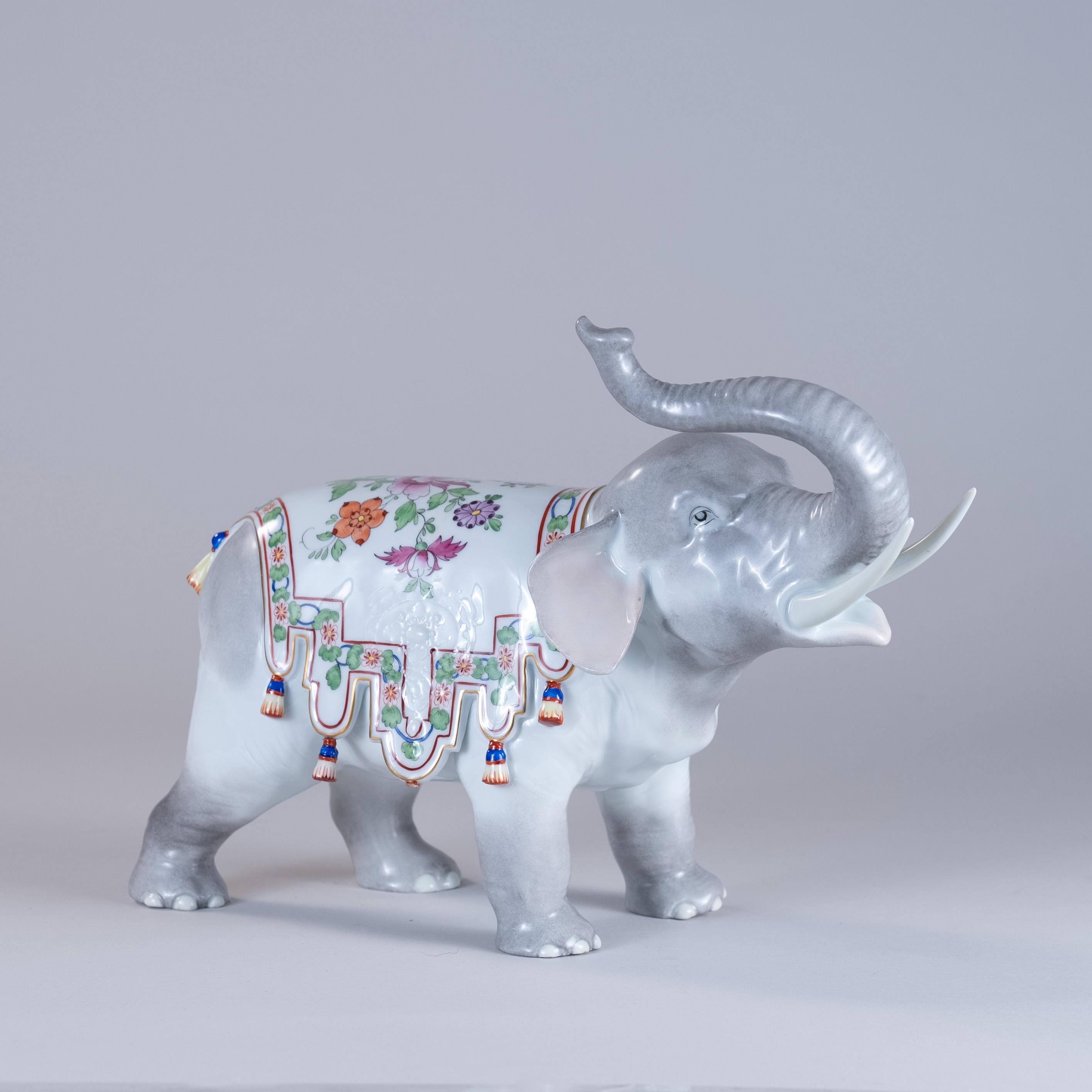 Large 20th Century Dresden Porcelain Elephant
