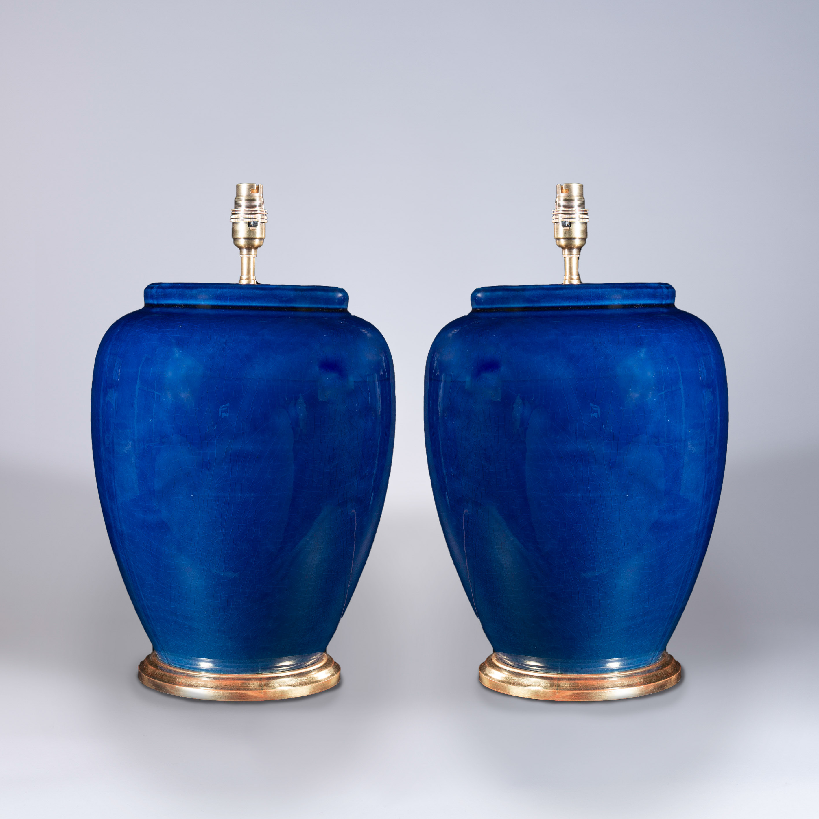 Large Pair of Blue Glazed Vases as Lamps
