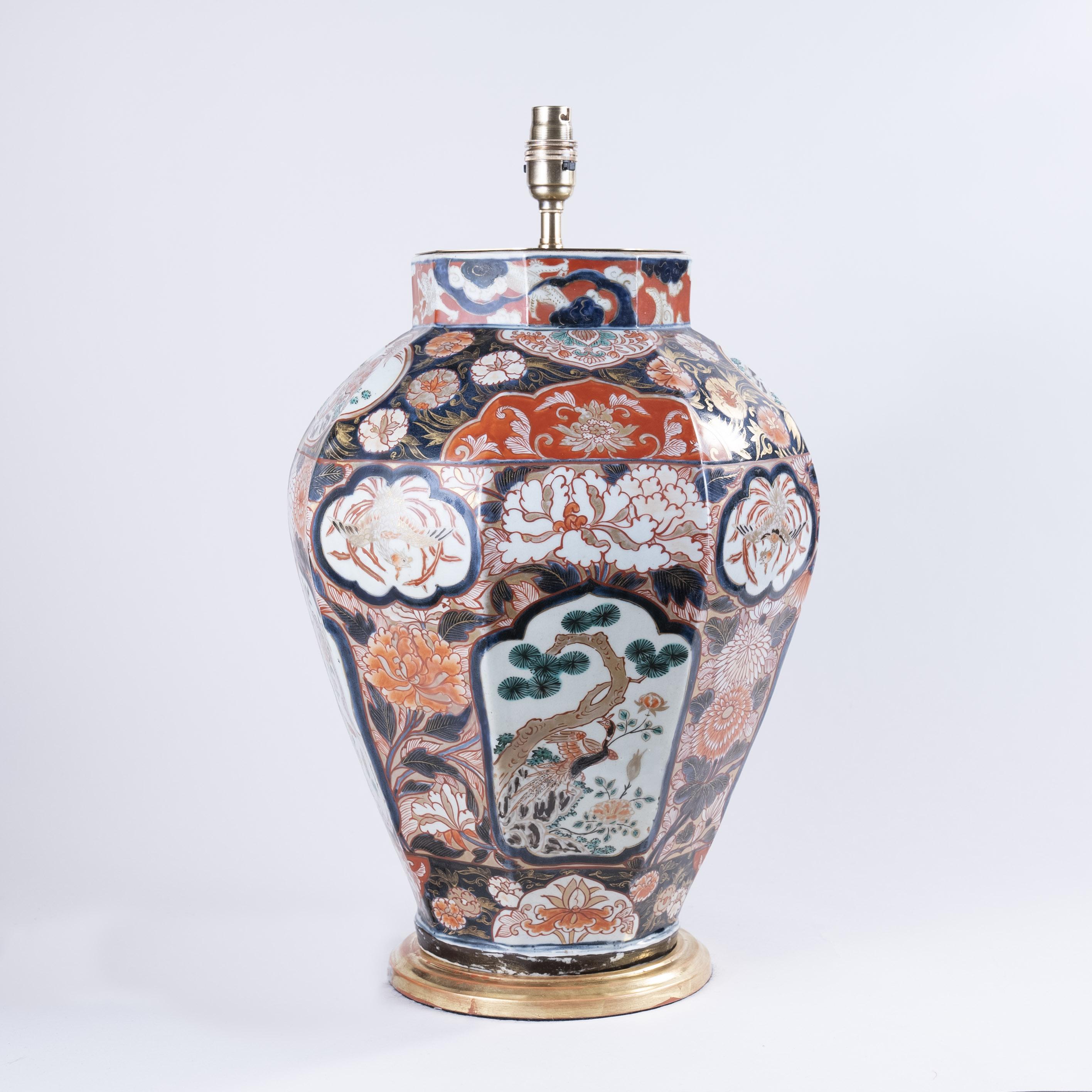 Early 18th Century Japanese Imari Octagonal Vase as a Lamp